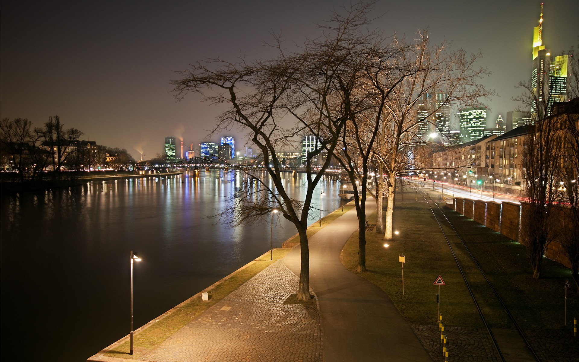 Misc: Evening Lights Frankfurt Night Cityscapes Nature Wallpapers ...