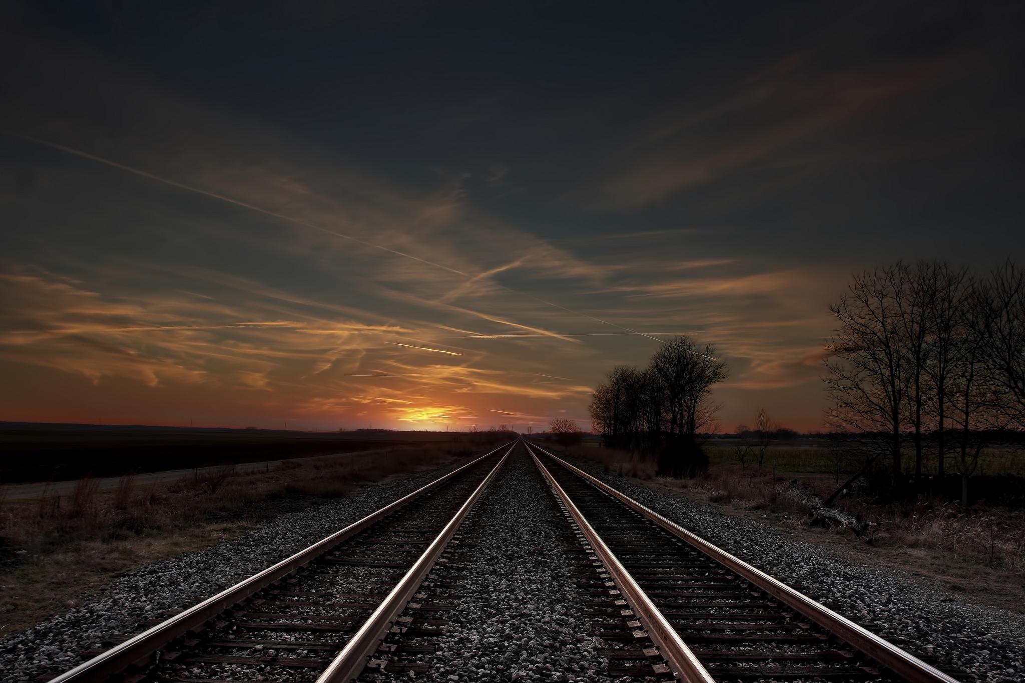 Wallpaper trees, evening, railroad, field, sky, rails, clouds ...
