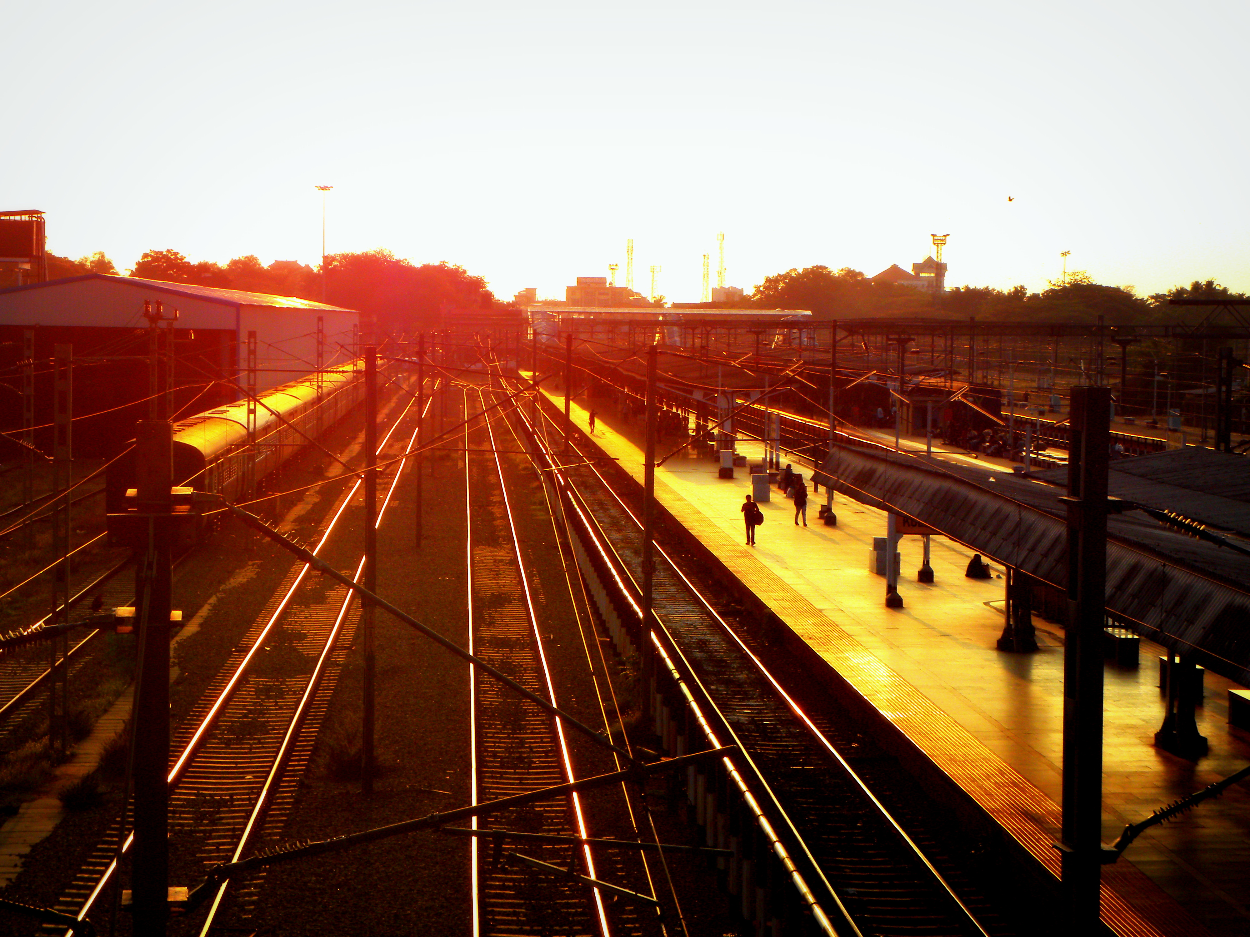 Evening railway view photo