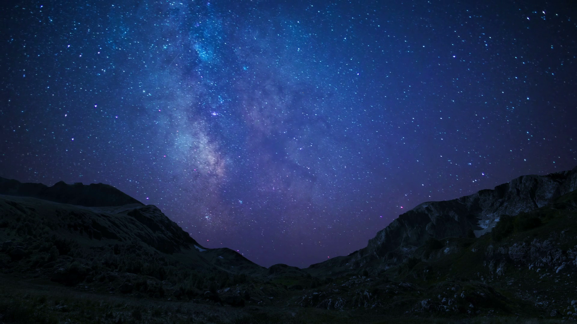 night sky stars milkyway on mountains background Stock Video Footage ...