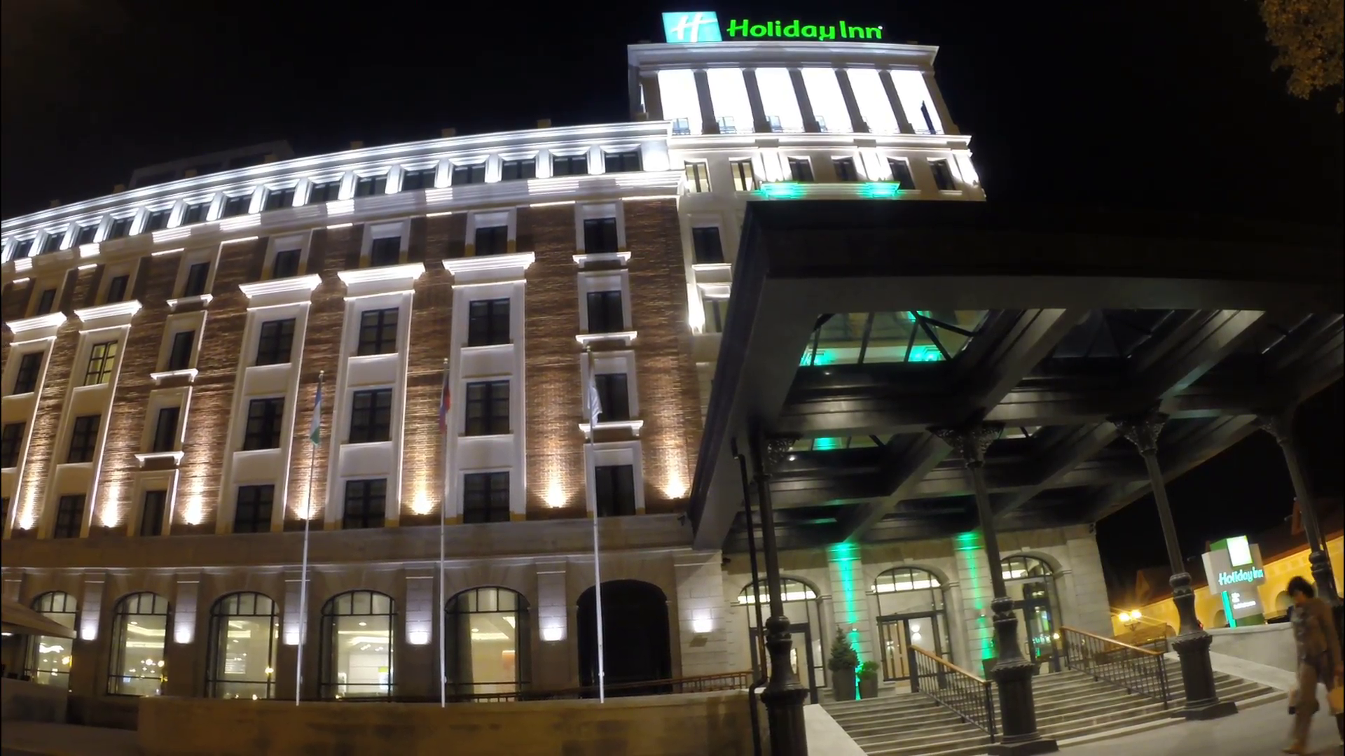 Holiday Inn Hotel in Ufa evening. Stock Video Footage - VideoBlocks