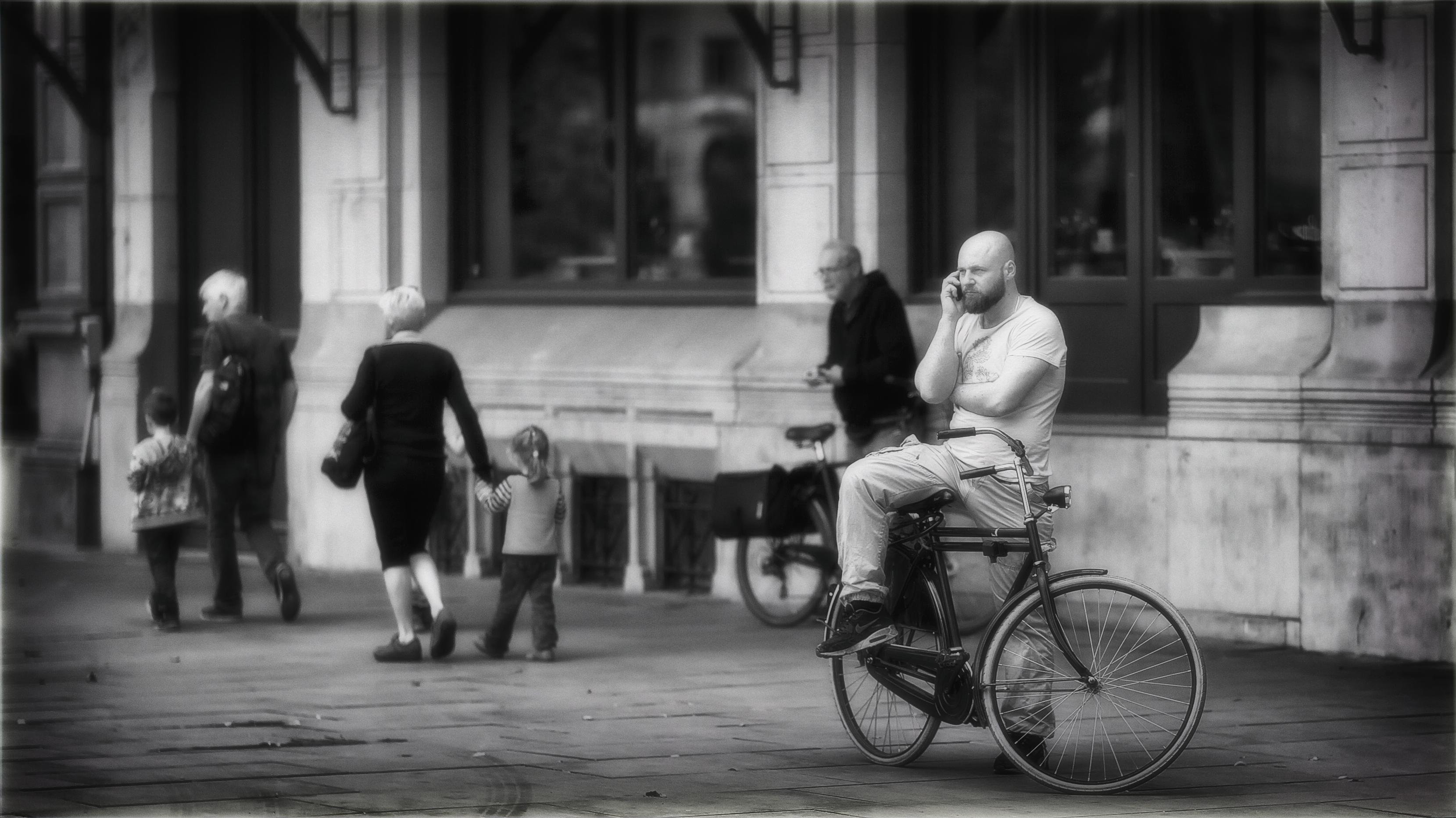 Everybody Has a Mobile Phone, So Why Is It That You Can Never Reach The Person You Need?, Antwerp, Belgium, Bike, Blackandwhite, HQ Photo
