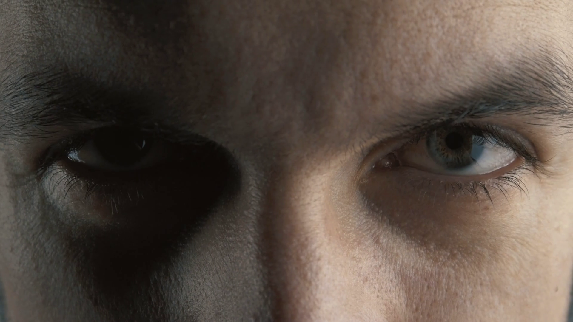 Angry serious man with evil eyes, closeup. Devil look Stock Video ...