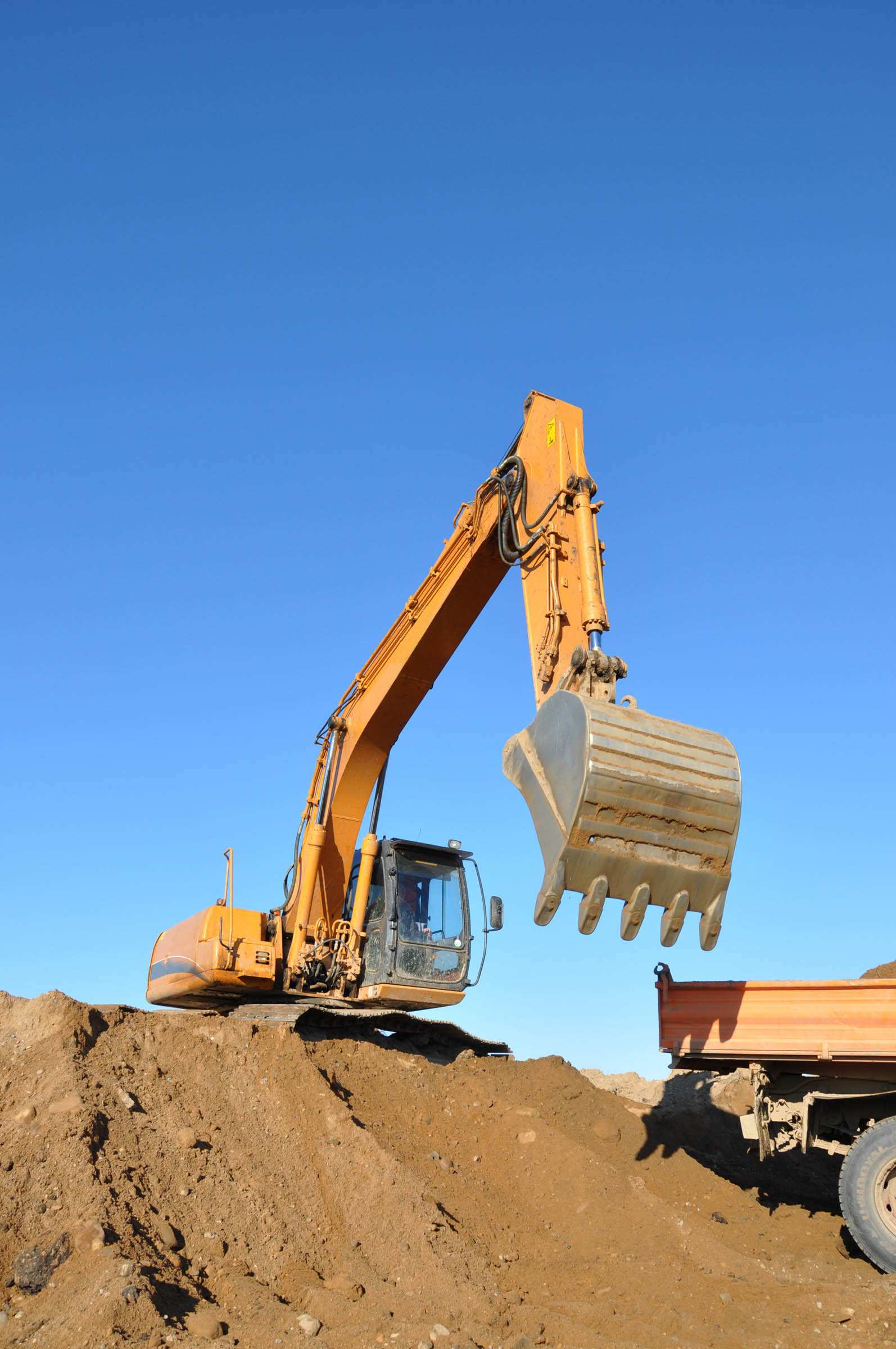 Excavator on worksite, Construction, Power, Mine, Mining, HQ Photo