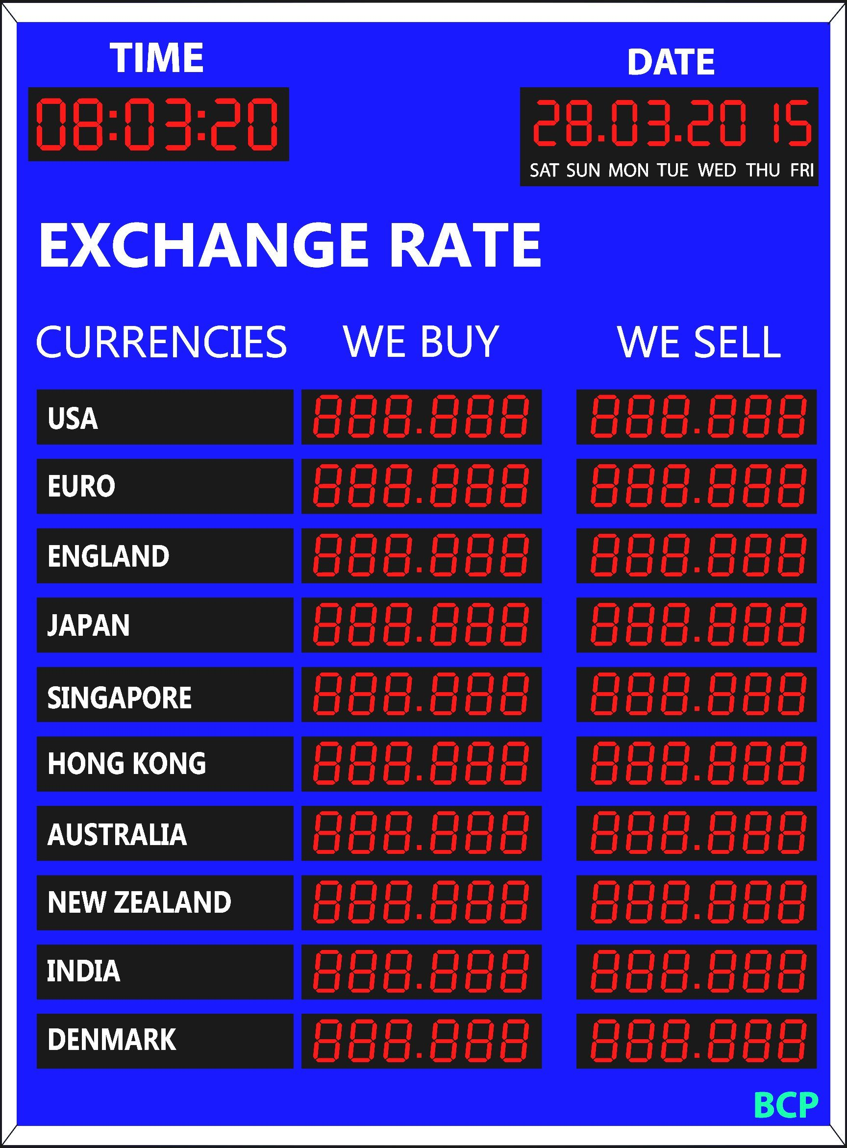Currency exchange rate display : BCP