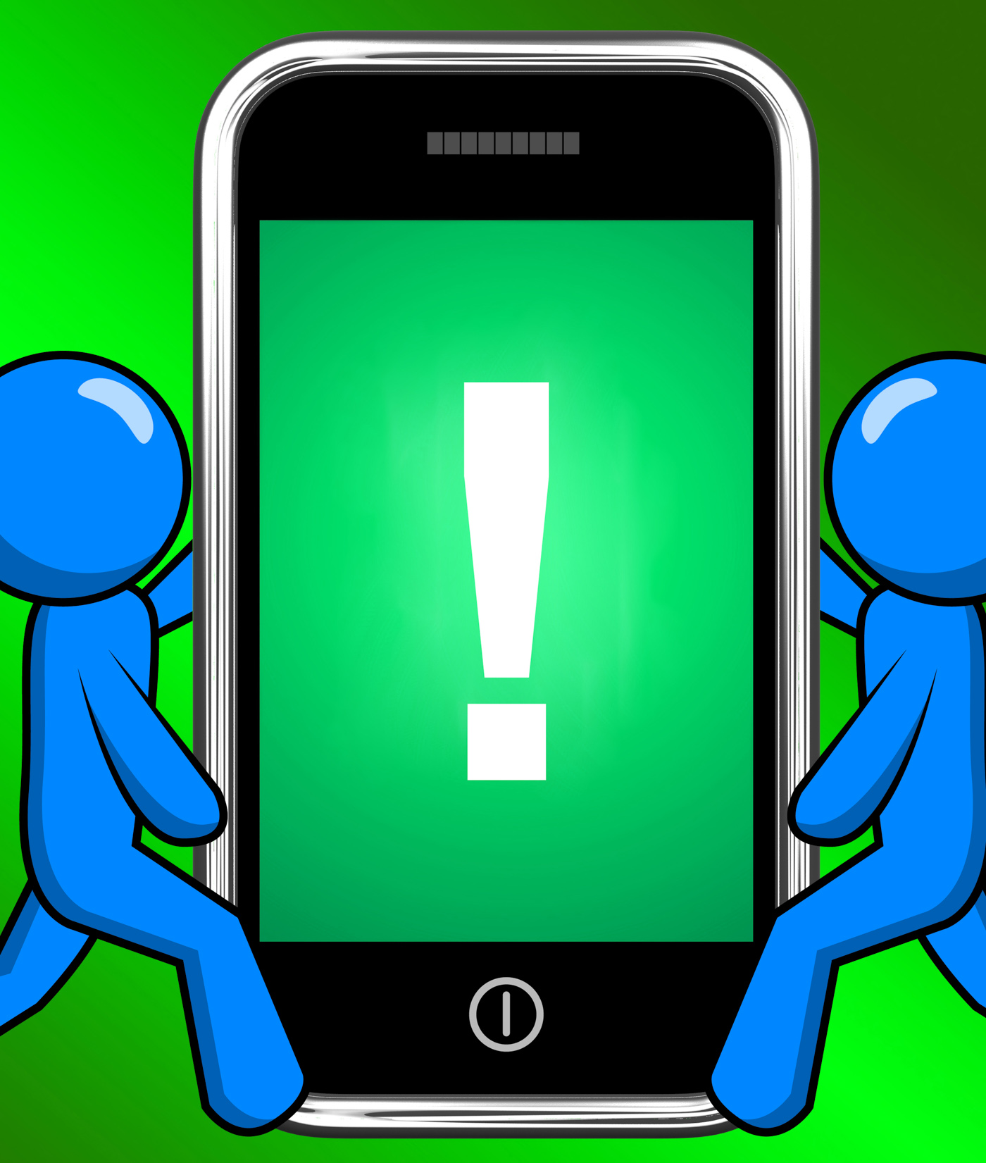 Exclamation mark on phone displays attention warning photo