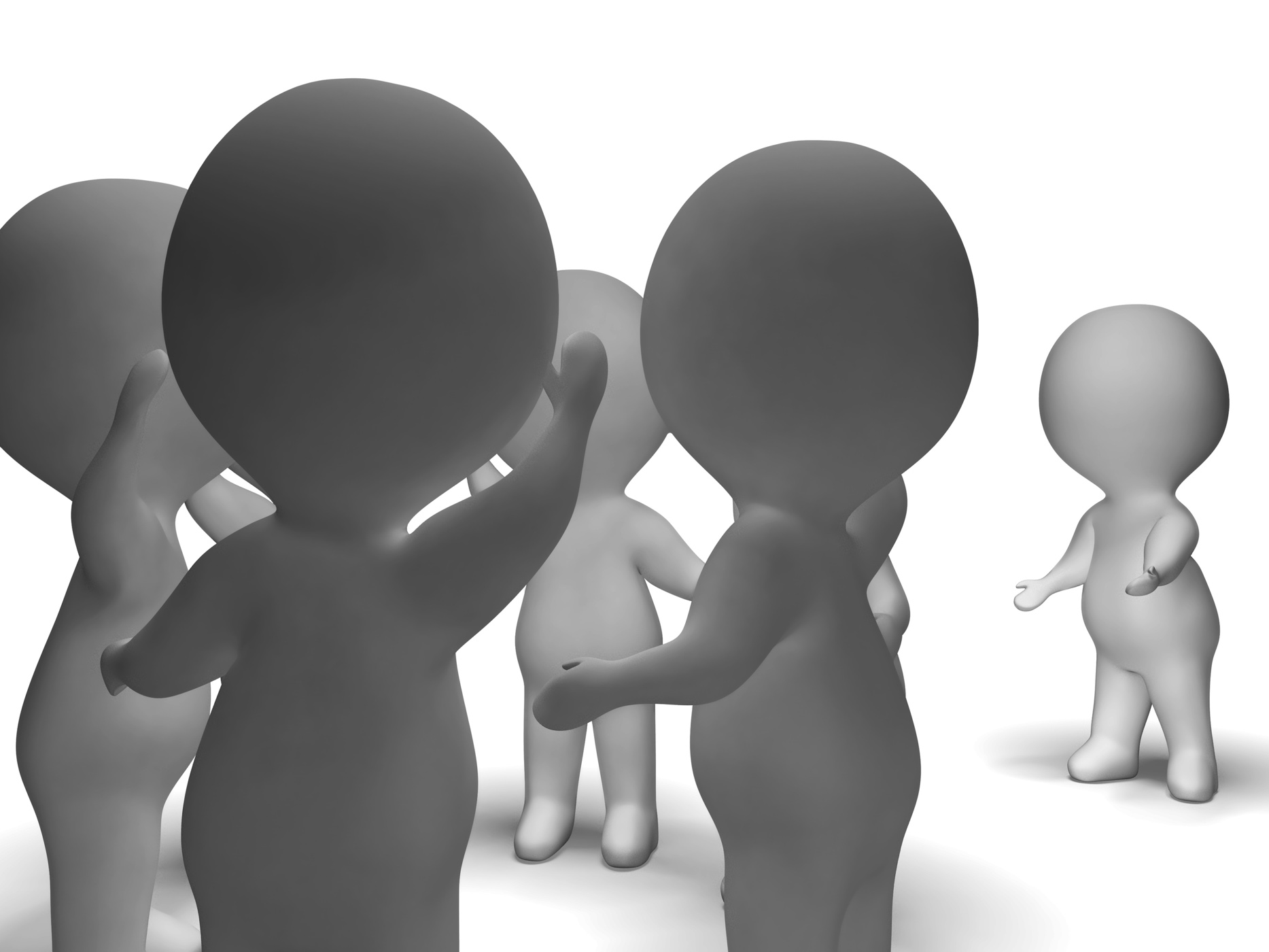 Excluded from group 3d character showing bullying photo