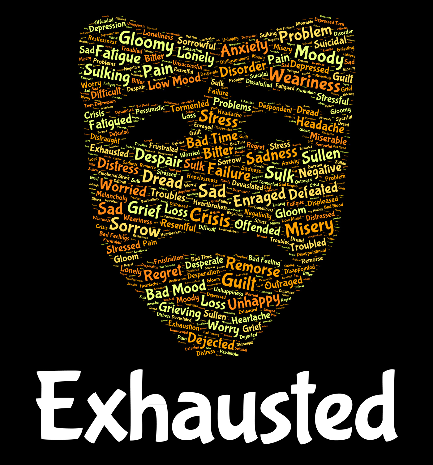 Exhausted Word Shows Tired Out And Draining, Drained, Tiring, Words, Wordclouds, HQ Photo