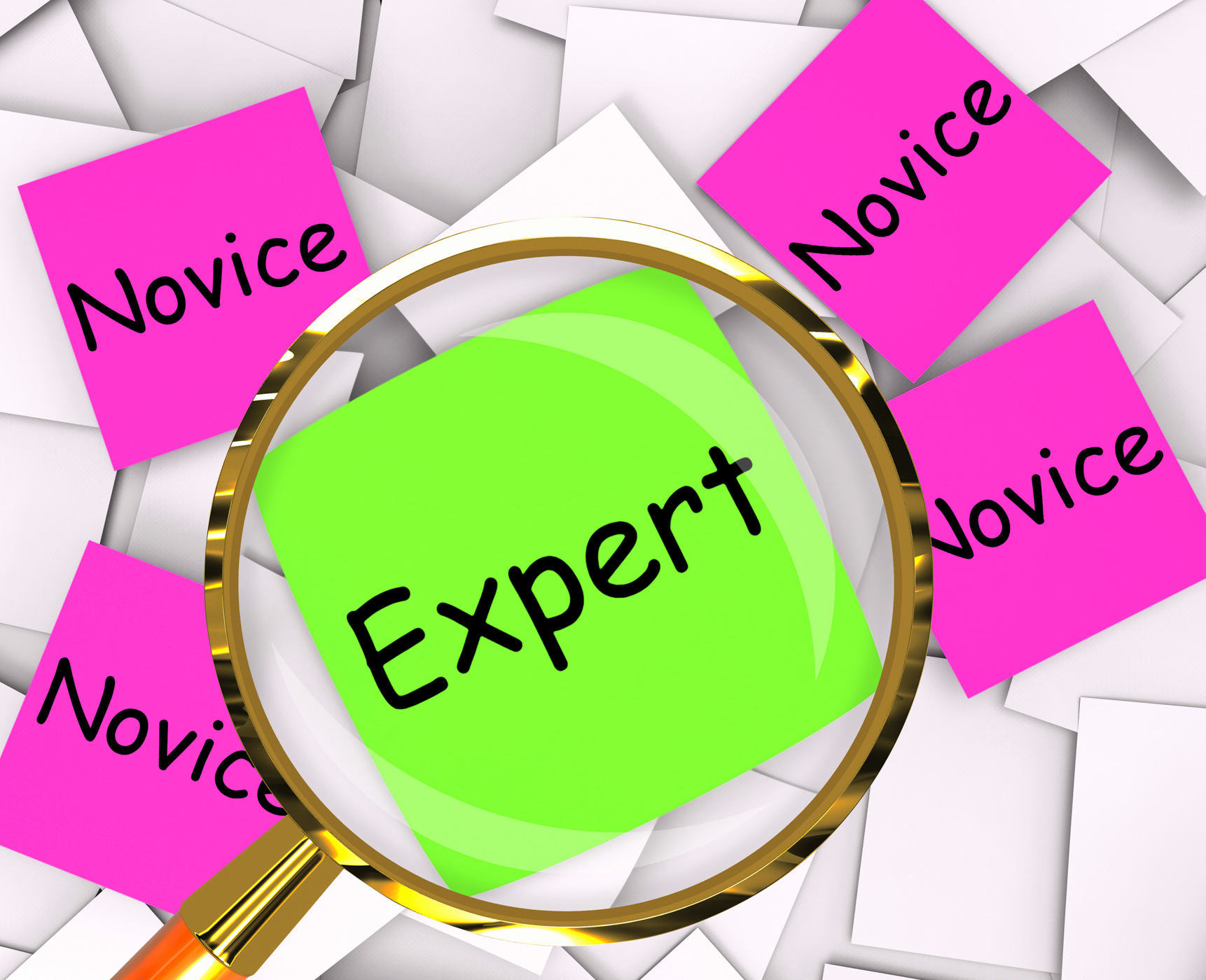 Expert novice post-it papers mean experienced or inexperienced photo