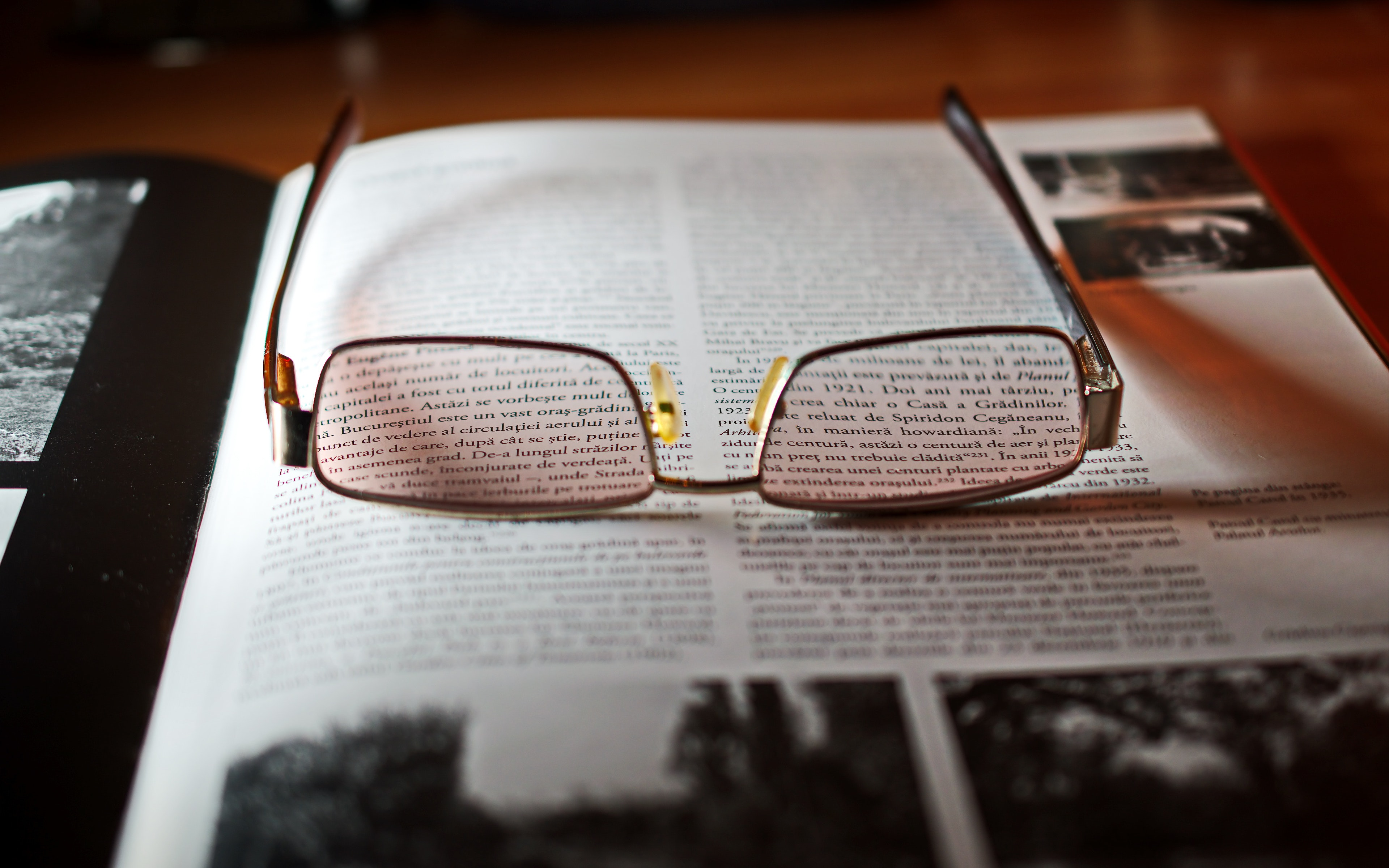 Eyeglasses With Gold-colored Frame on Opened Book, Book, Book pages, Close-up, Eye glasses, HQ Photo