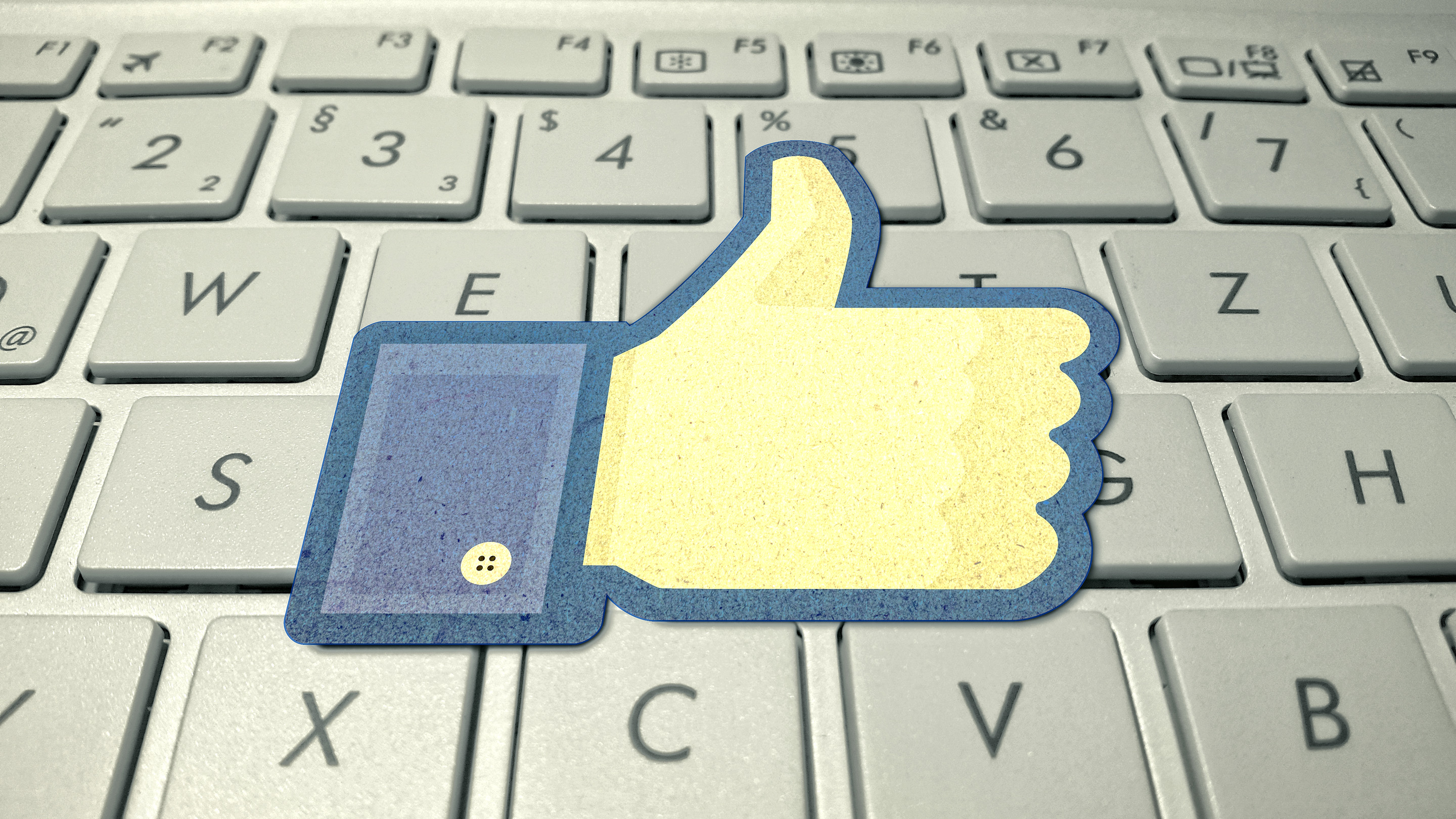 Facebook Logo on Computer Keyboard, New, Promotion, Post, Popular, HQ Photo