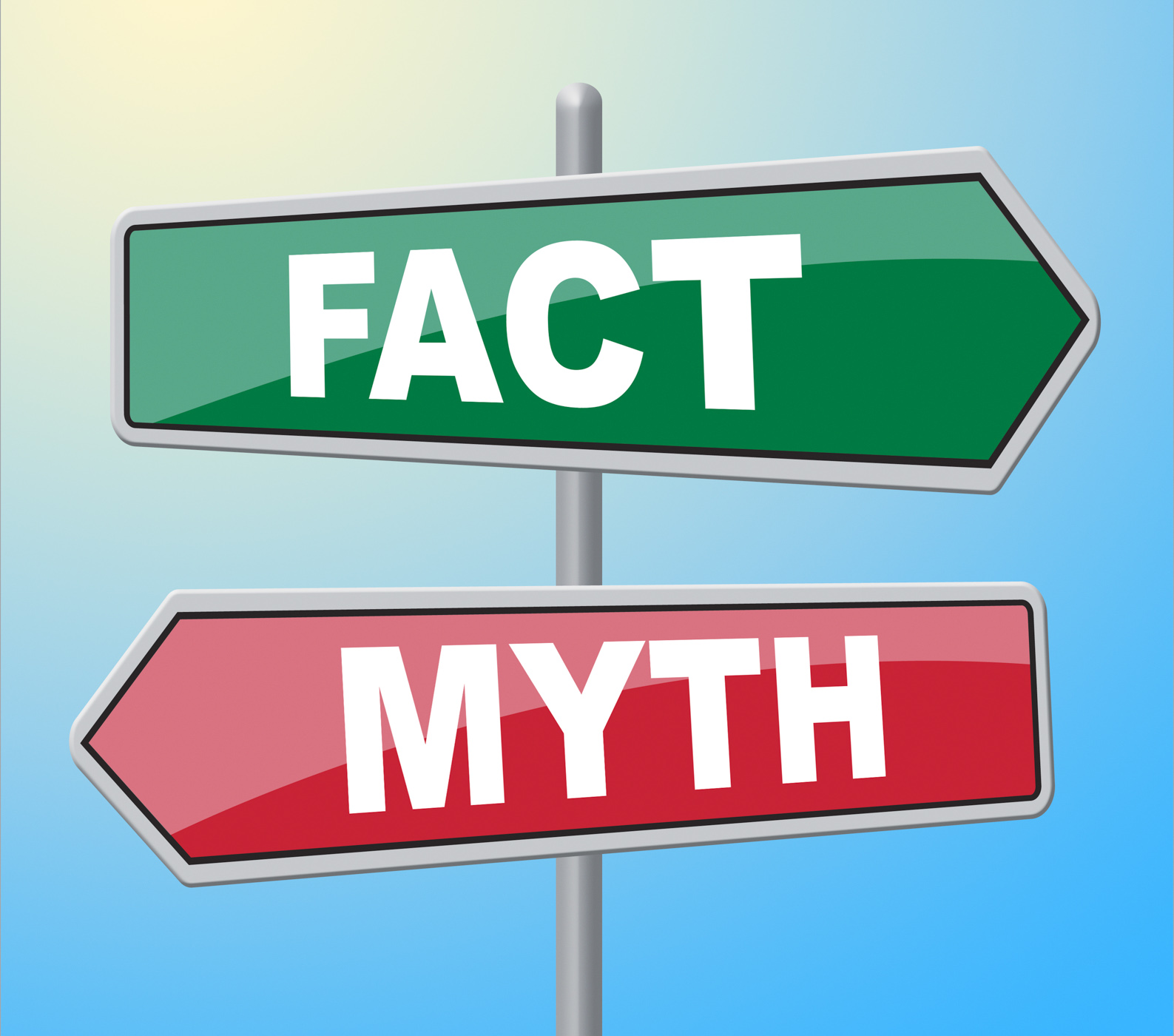 Fact myth signs indicates the facts and untrue photo