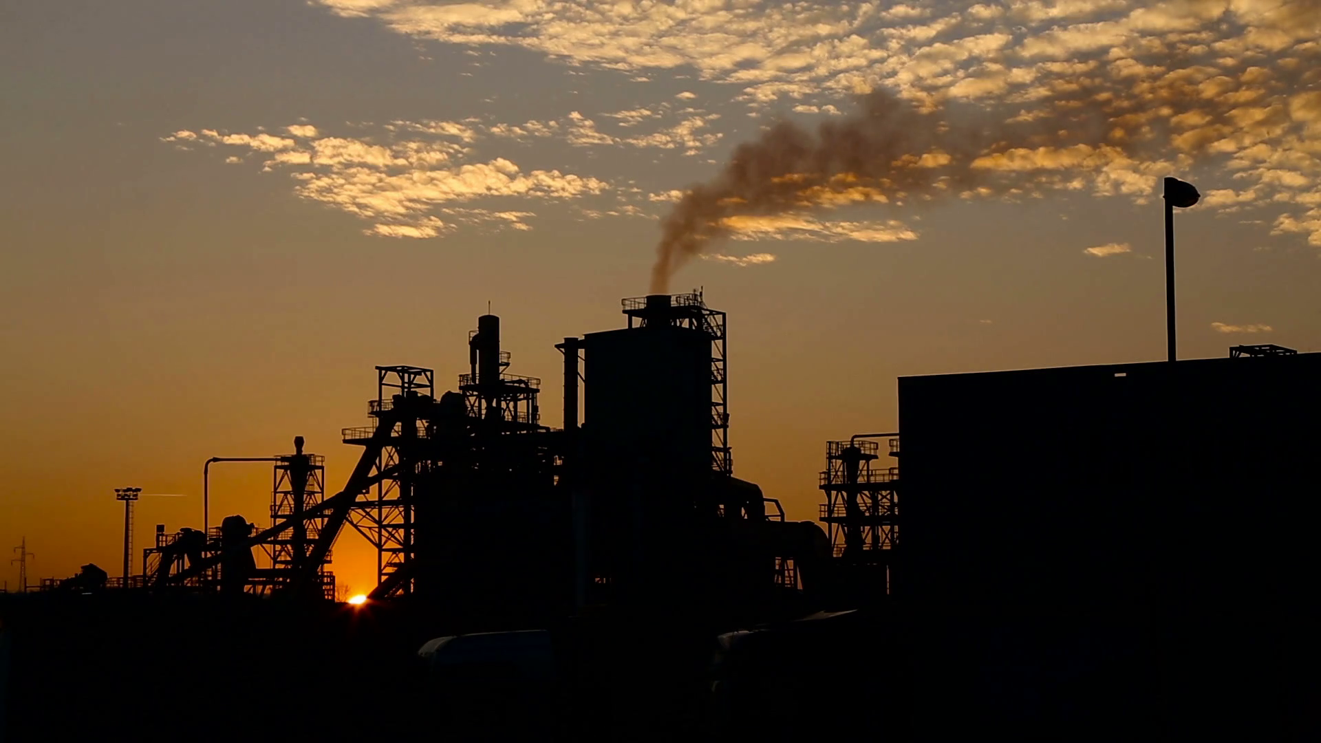 Factories at sunset photo
