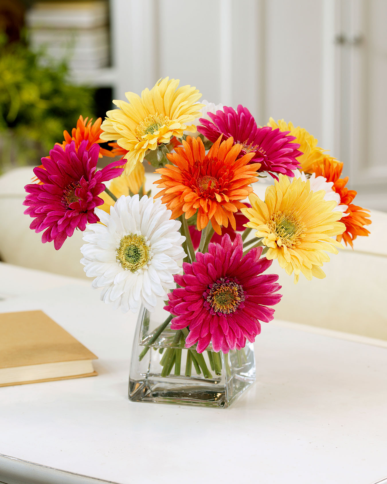 Decorate Happy with Gerbera Daisy Silk Flower Centerpiece at Petals