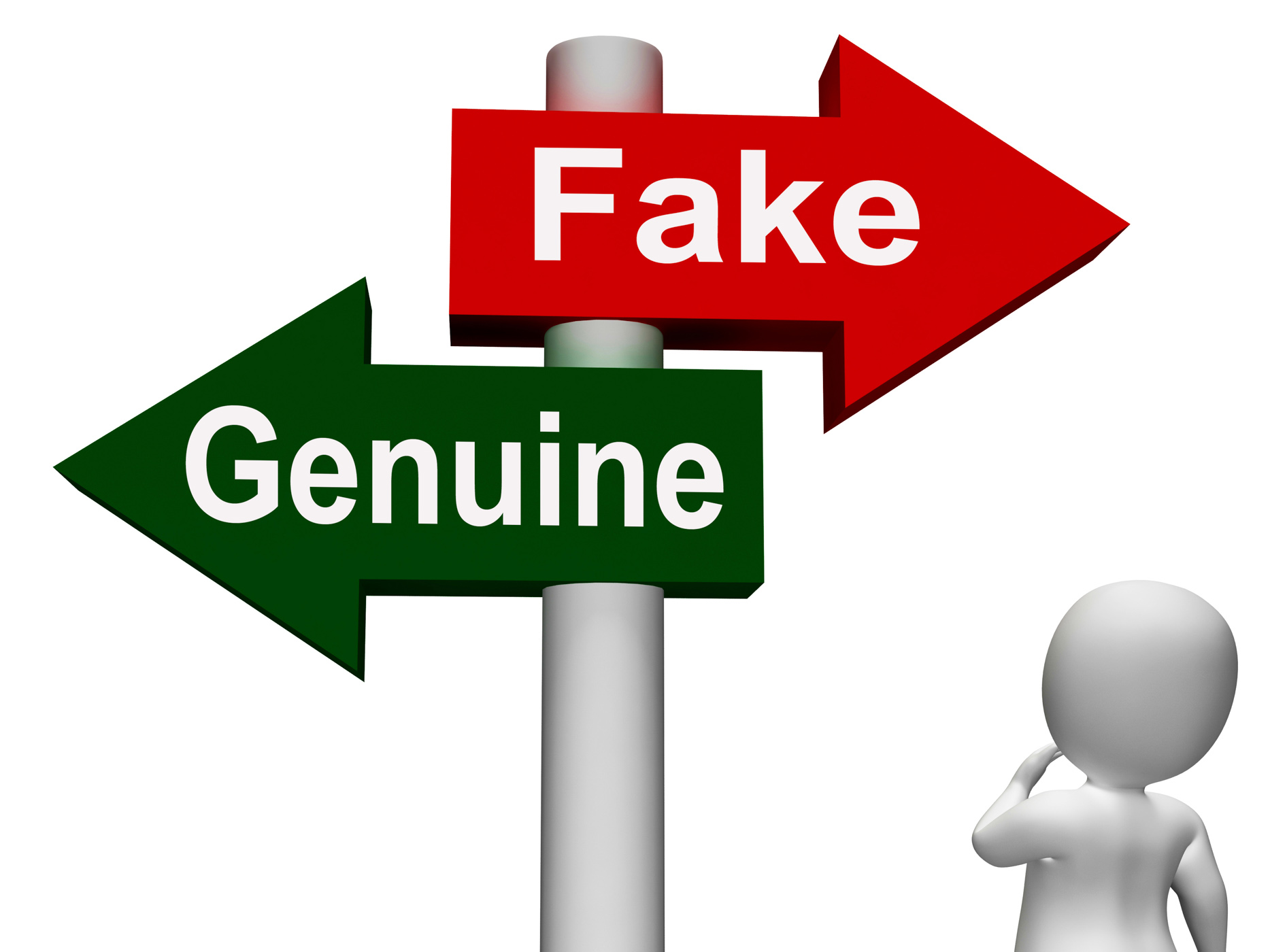 Fake genuine signpost means authentic or faked product photo