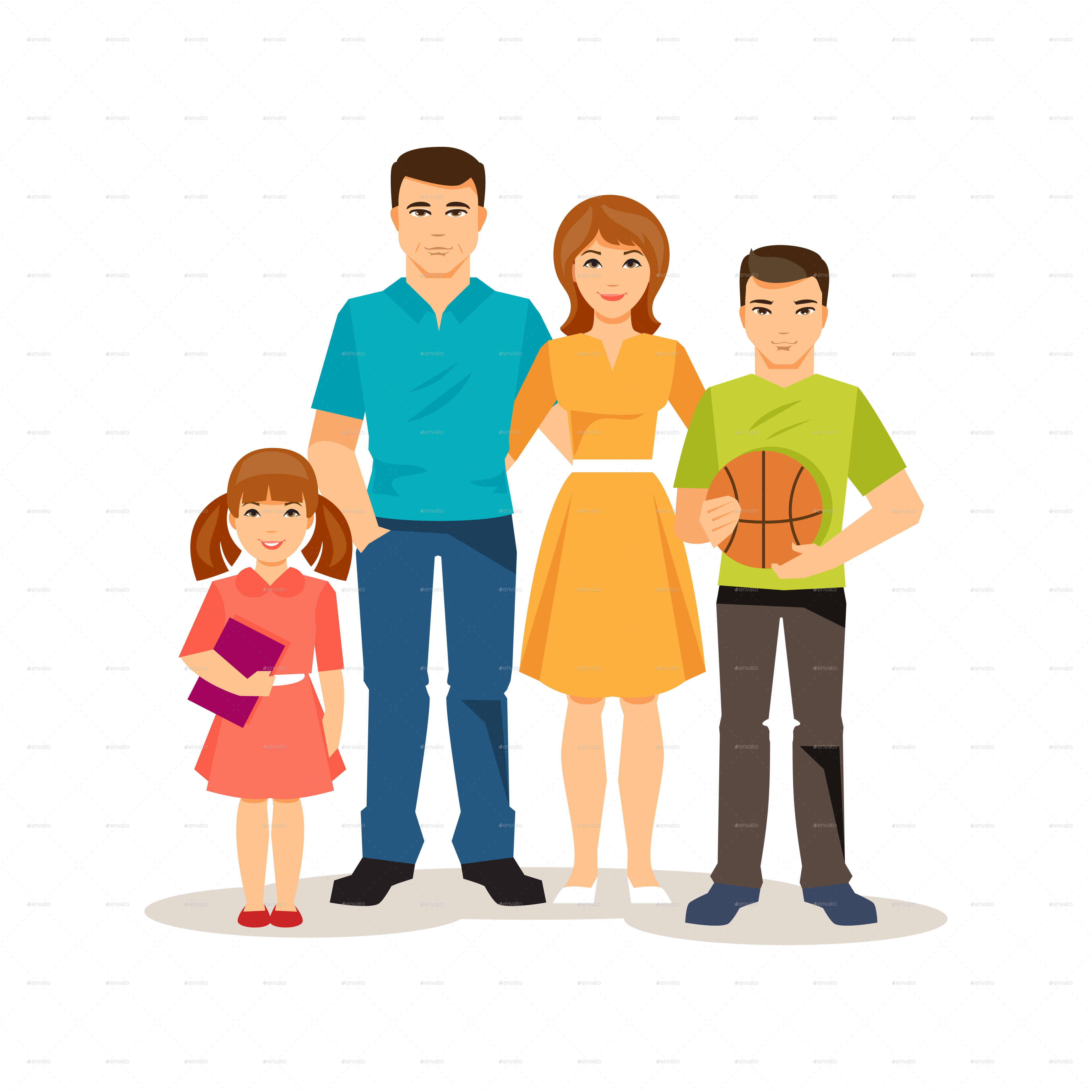 Cartoon Family On The White Background by artbesouro | GraphicRiver