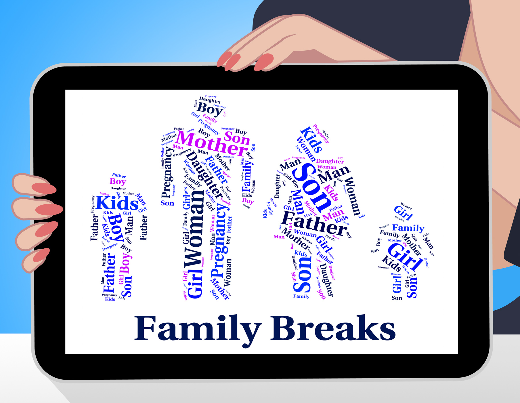 Family Breaks Shows Go On Leave And Families, Bloodrelation, Relatives, Wordcloud, Word, HQ Photo