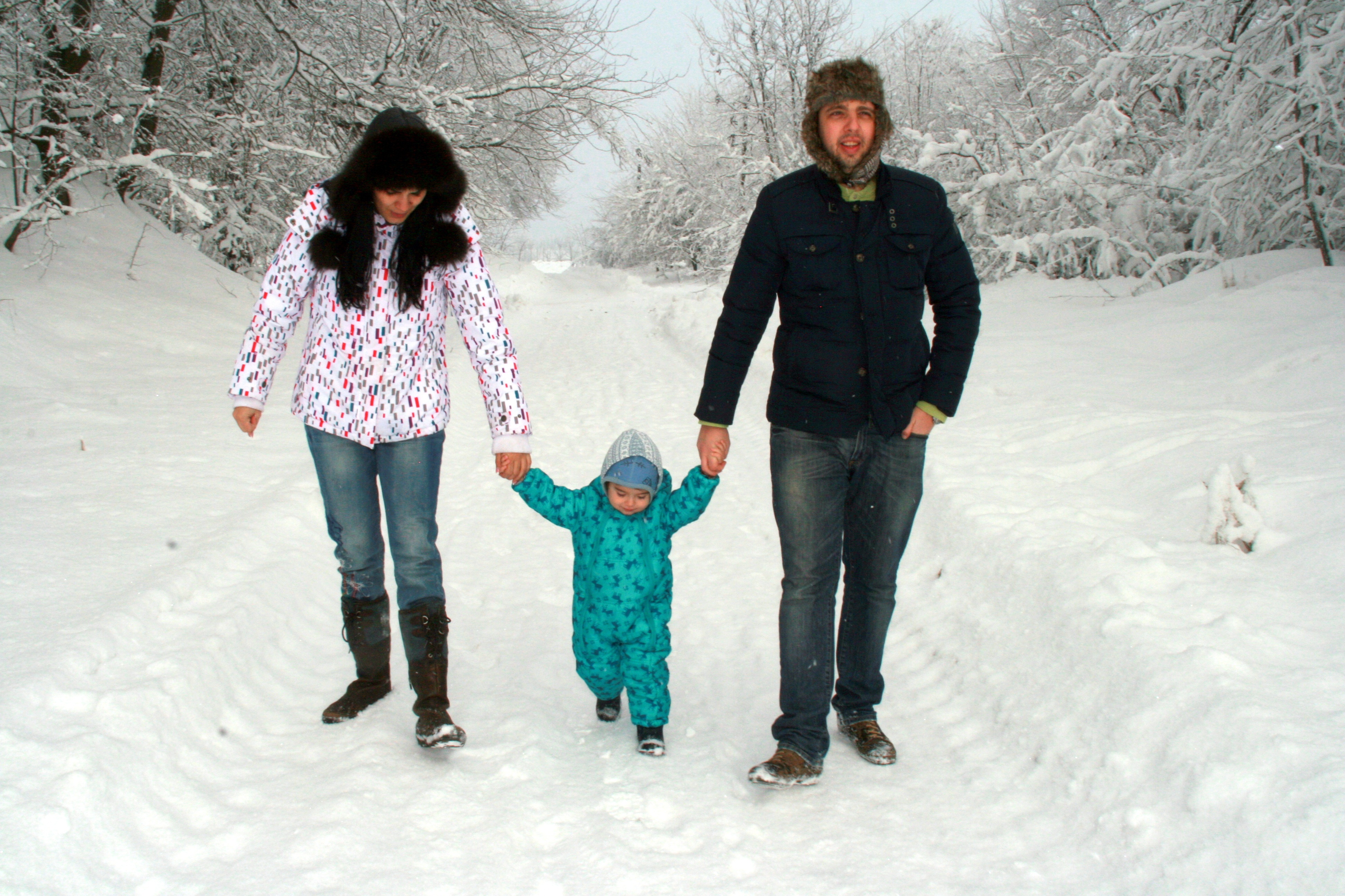Family in Winter, Child, Family, Ice, Kid, HQ Photo