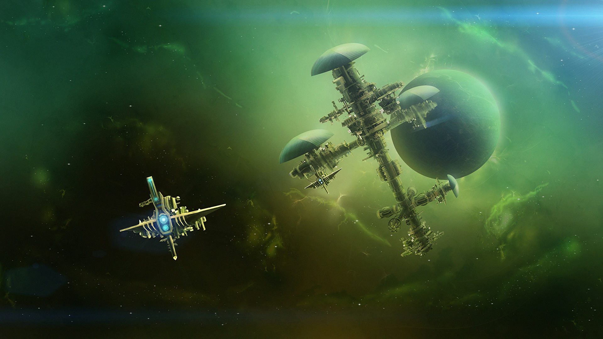 Photo Planets space station deep space Space Fantasy Ships 1920x1080