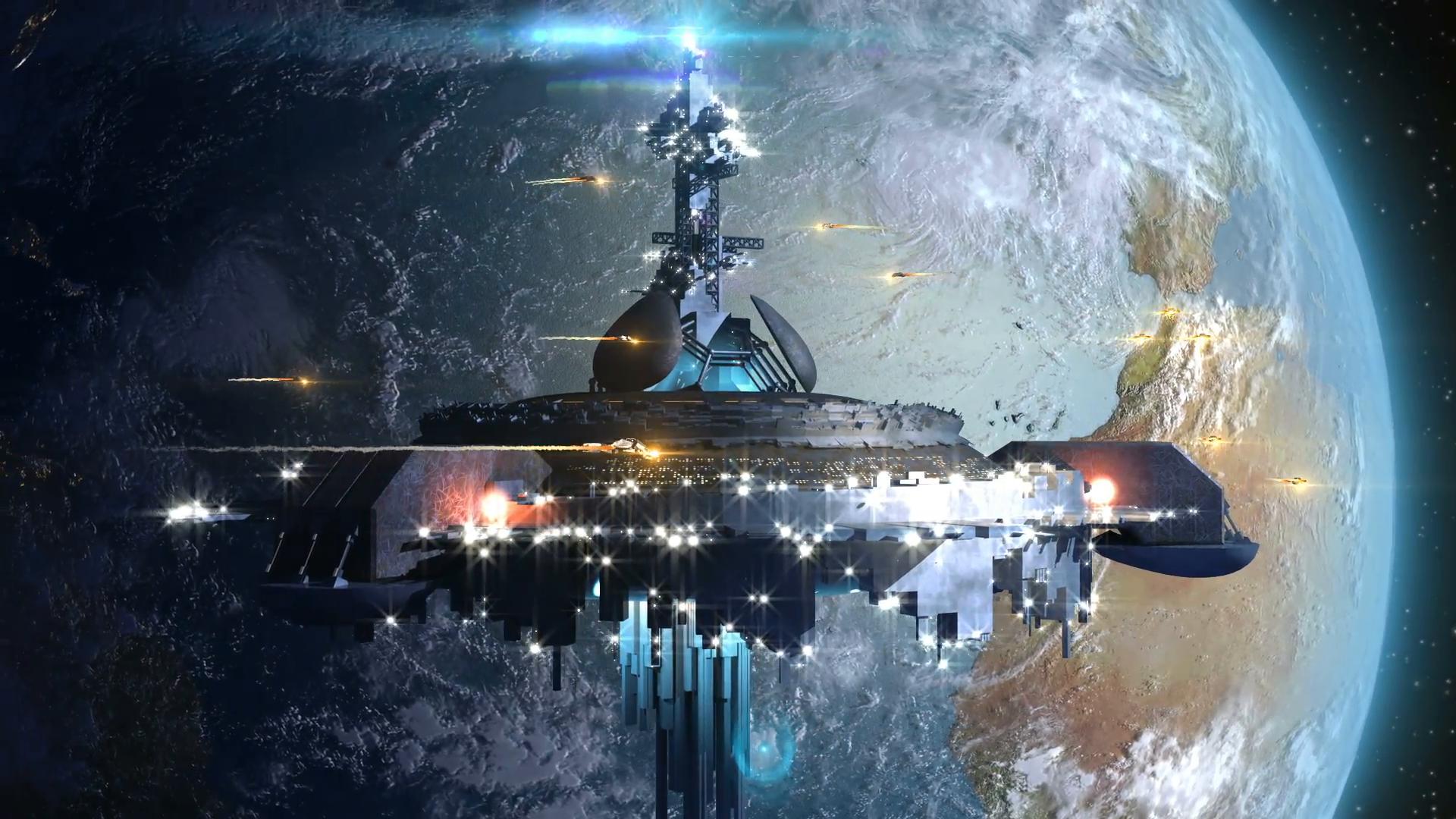 Alien mothership near Earth, for futuristic, fantasy or interstellar ...