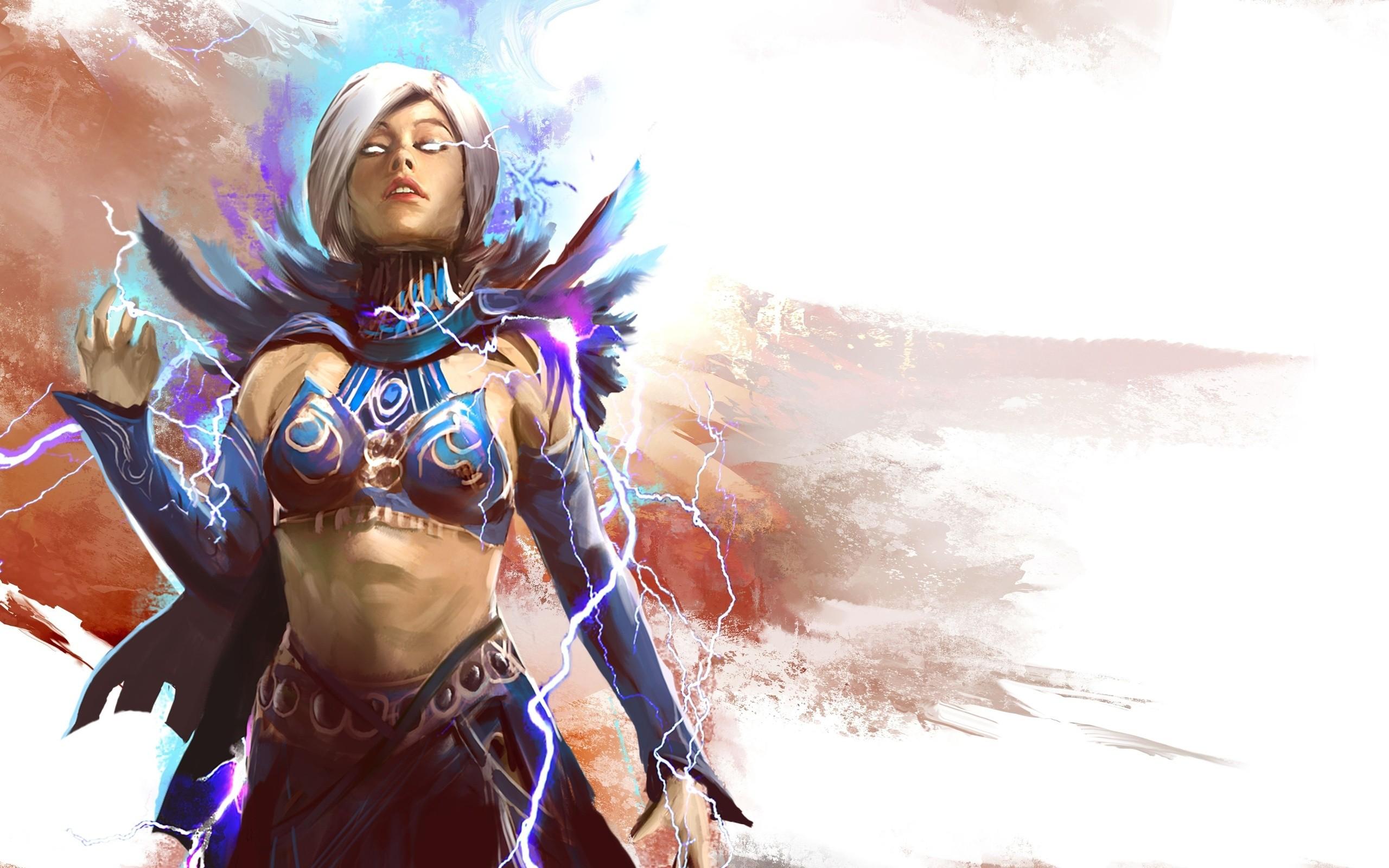 women, Mage, video games, fantasy art, artwork, Guild Wars 2, white ...