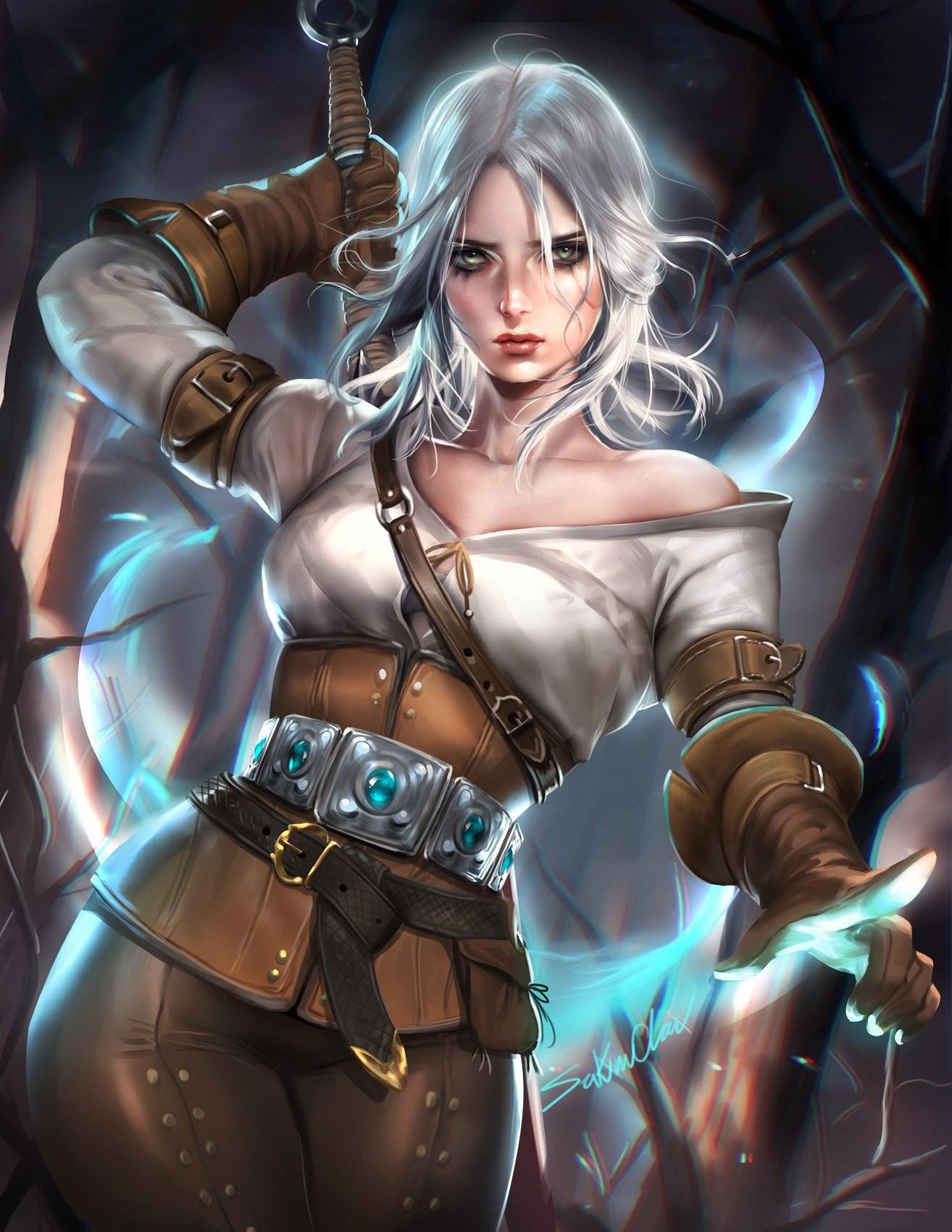 Wallpaper : video games, fantasy girl, anime, sword, Cirilla Fiona ...
