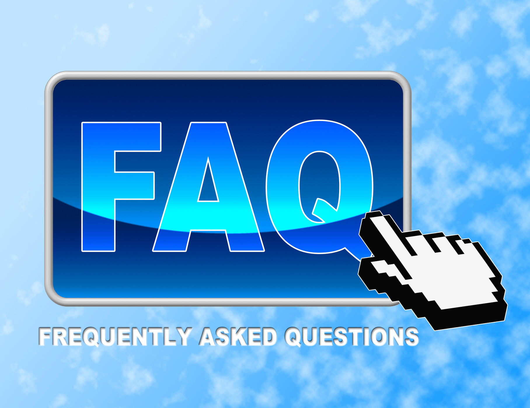 Faq button shows frequently asked questions and answer photo