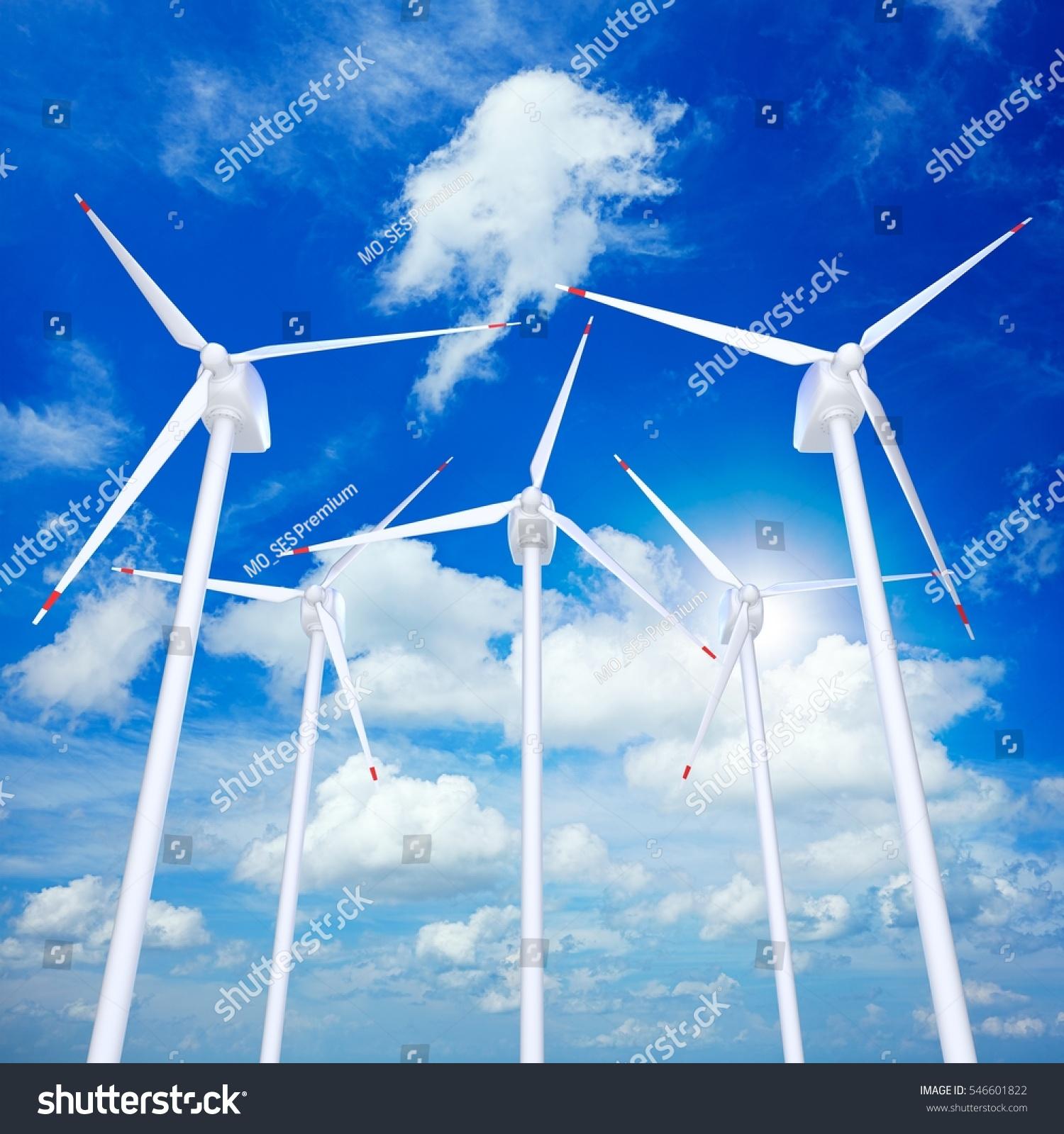 Wind Turbines Farm Against Blue Cloudy Stock Illustration 546601822 ...