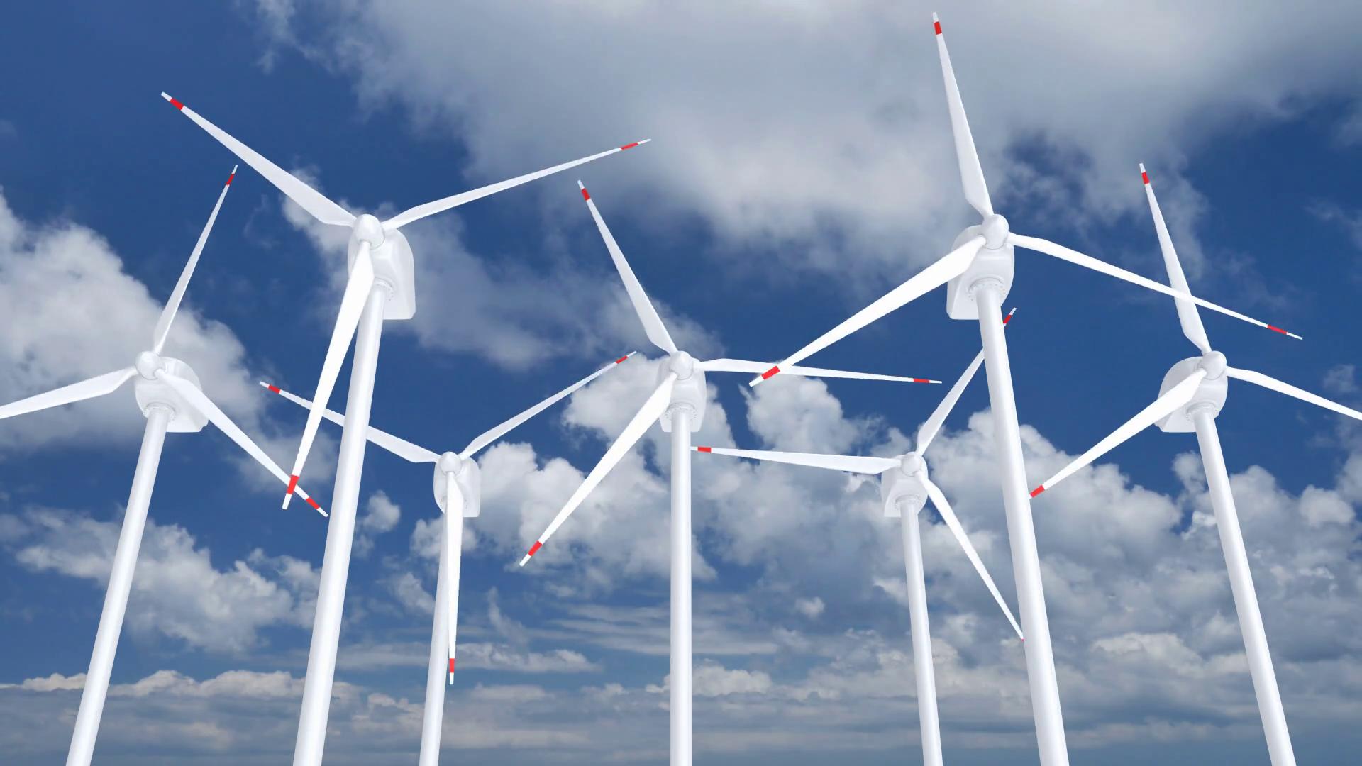 Wind turbines farm against the blue sky 3D animation with alpha ...
