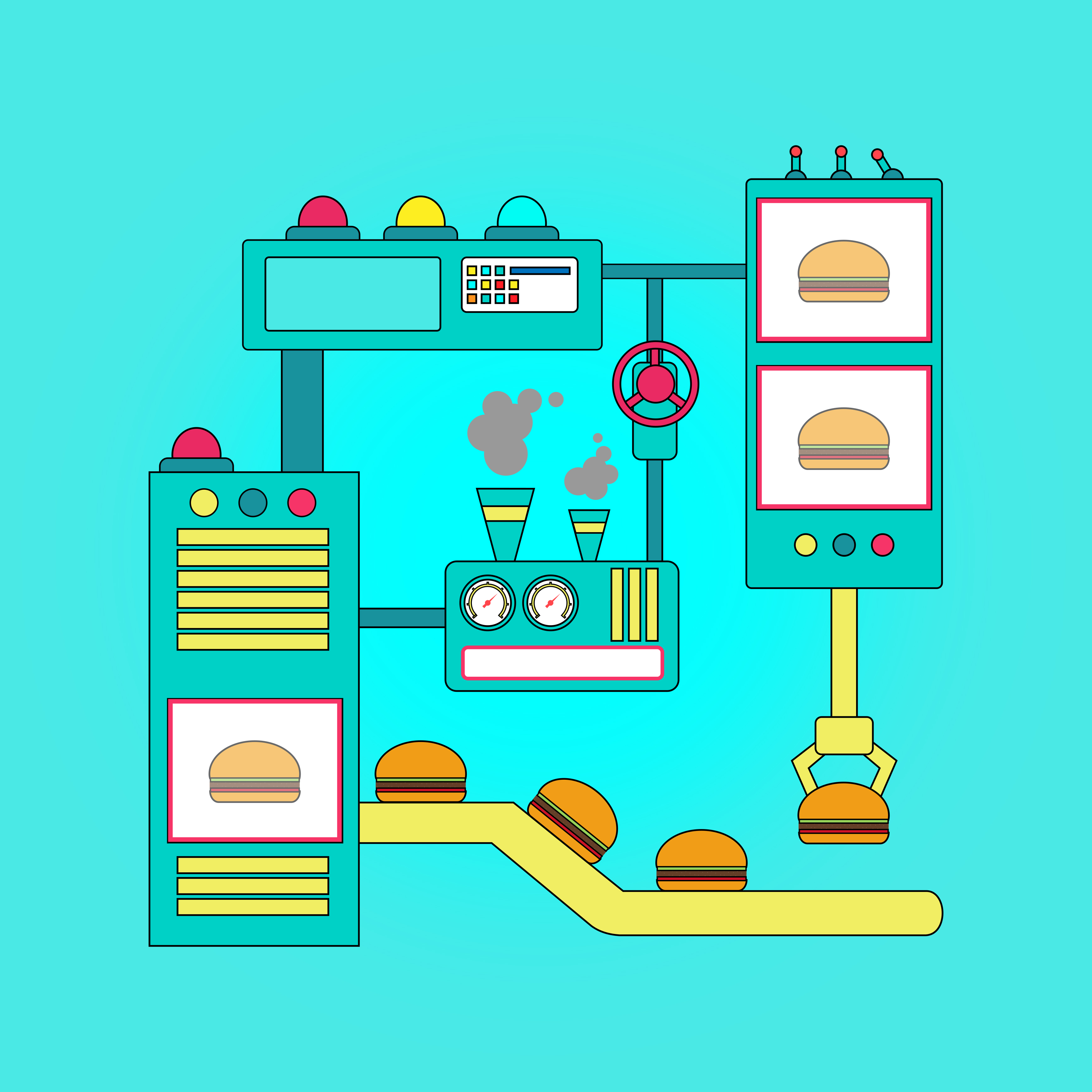 Fast food - food processors concept photo