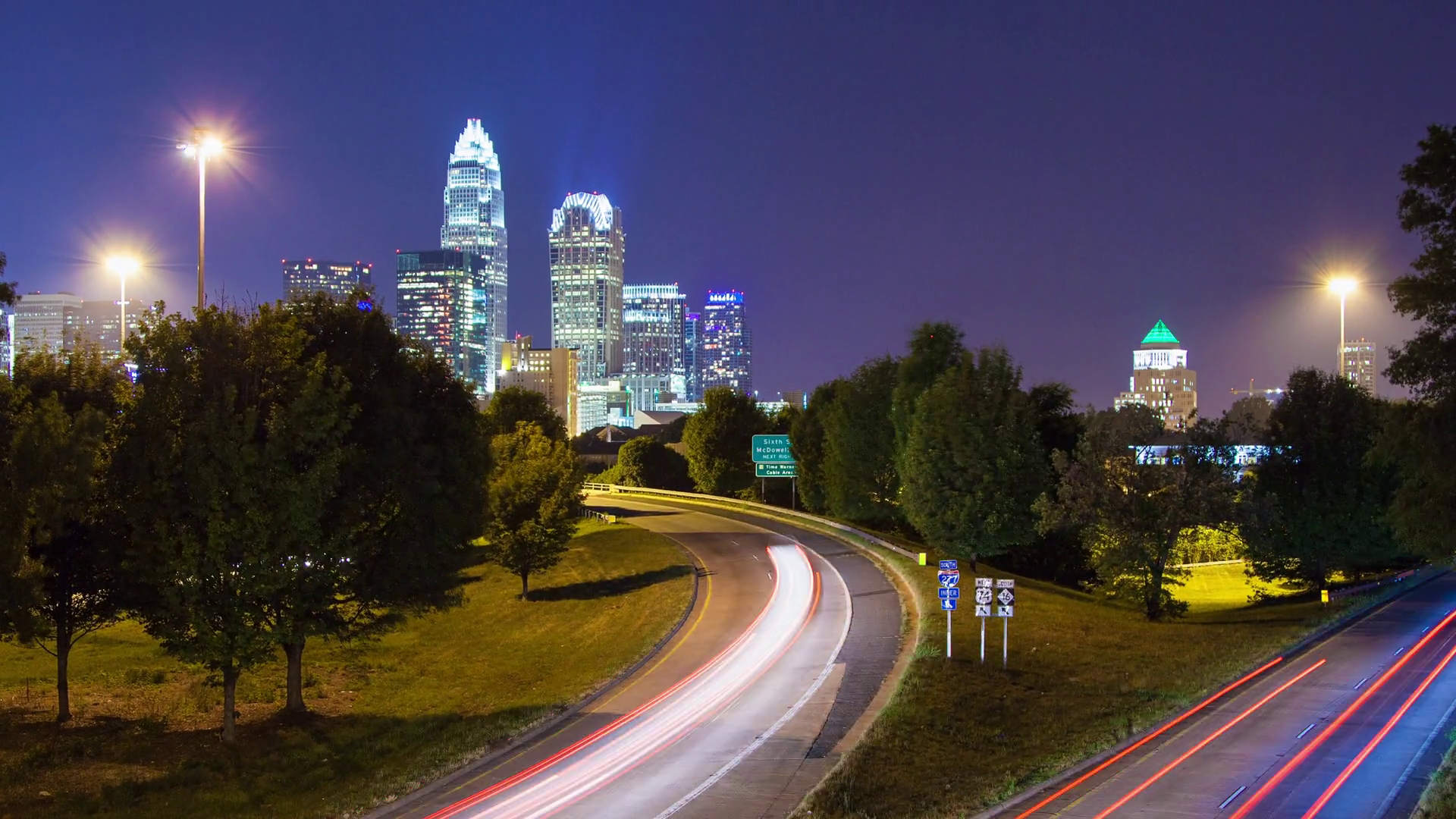 Awesome Charlotte NC City Skyline Timelapse with Fast Moving Traffic ...