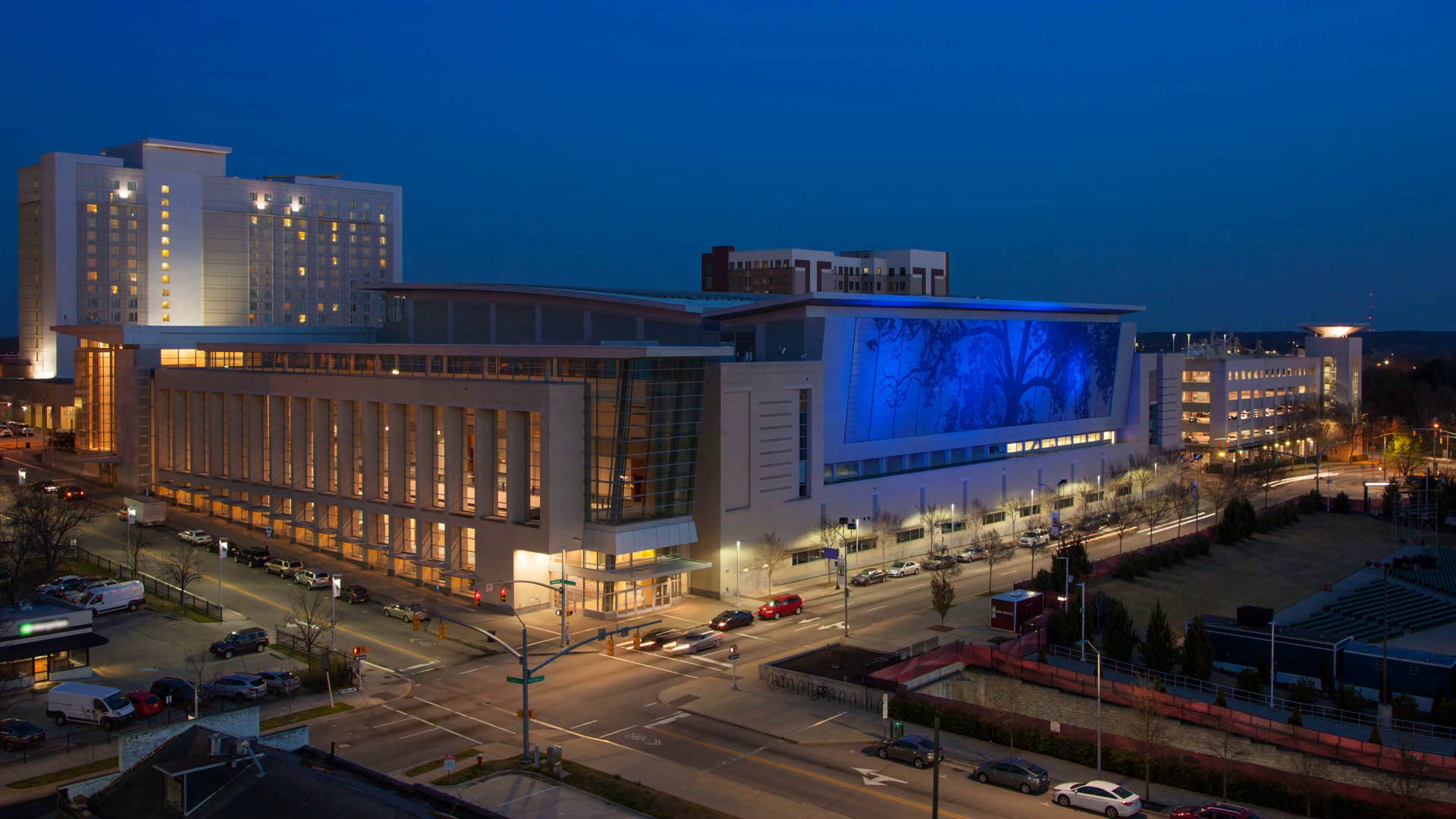 Raleigh Convention Center Exterior Timelapse at Sunset with Fast ...