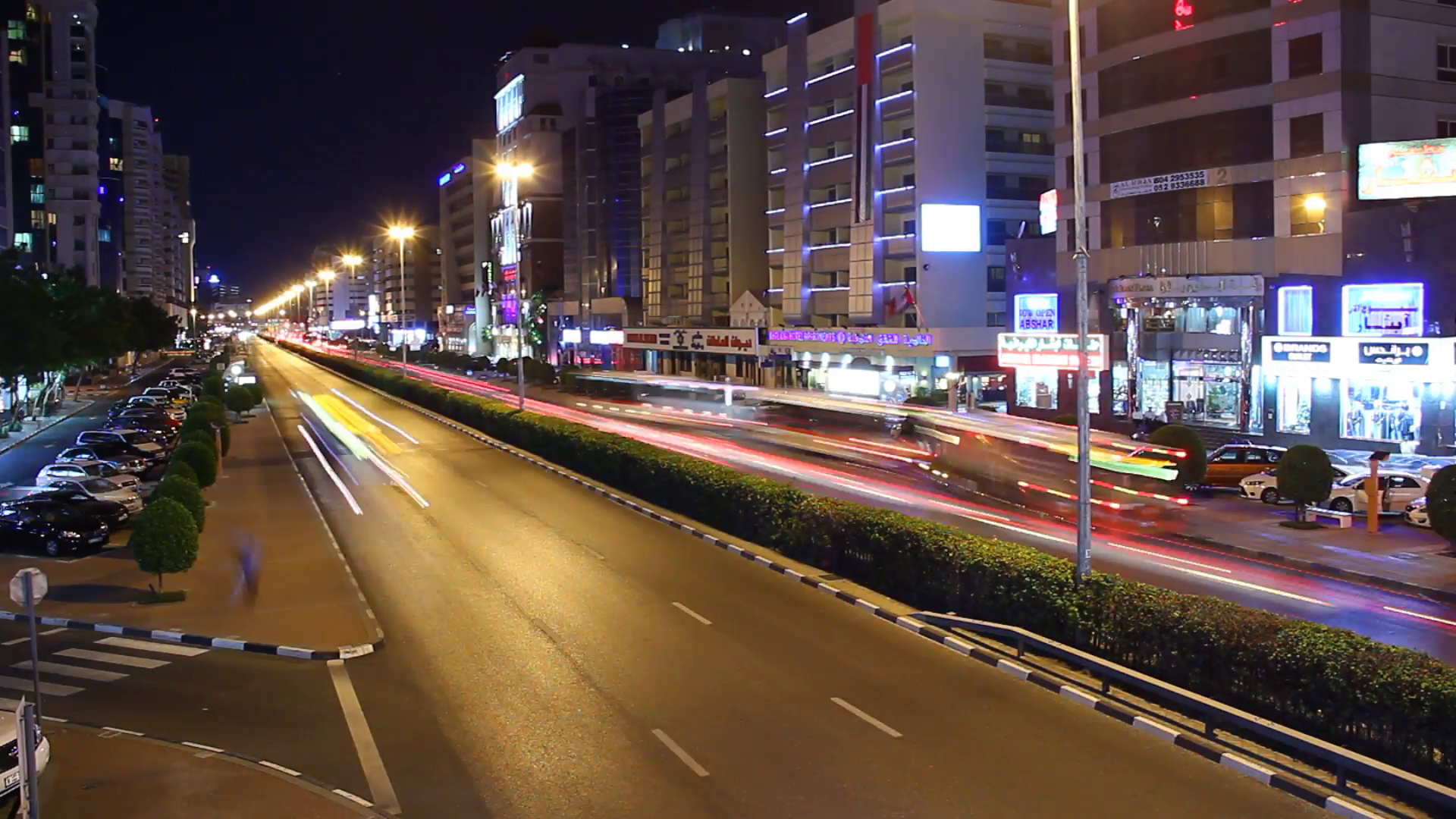 Very fast traffic move at night city street, perspective time lapse ...