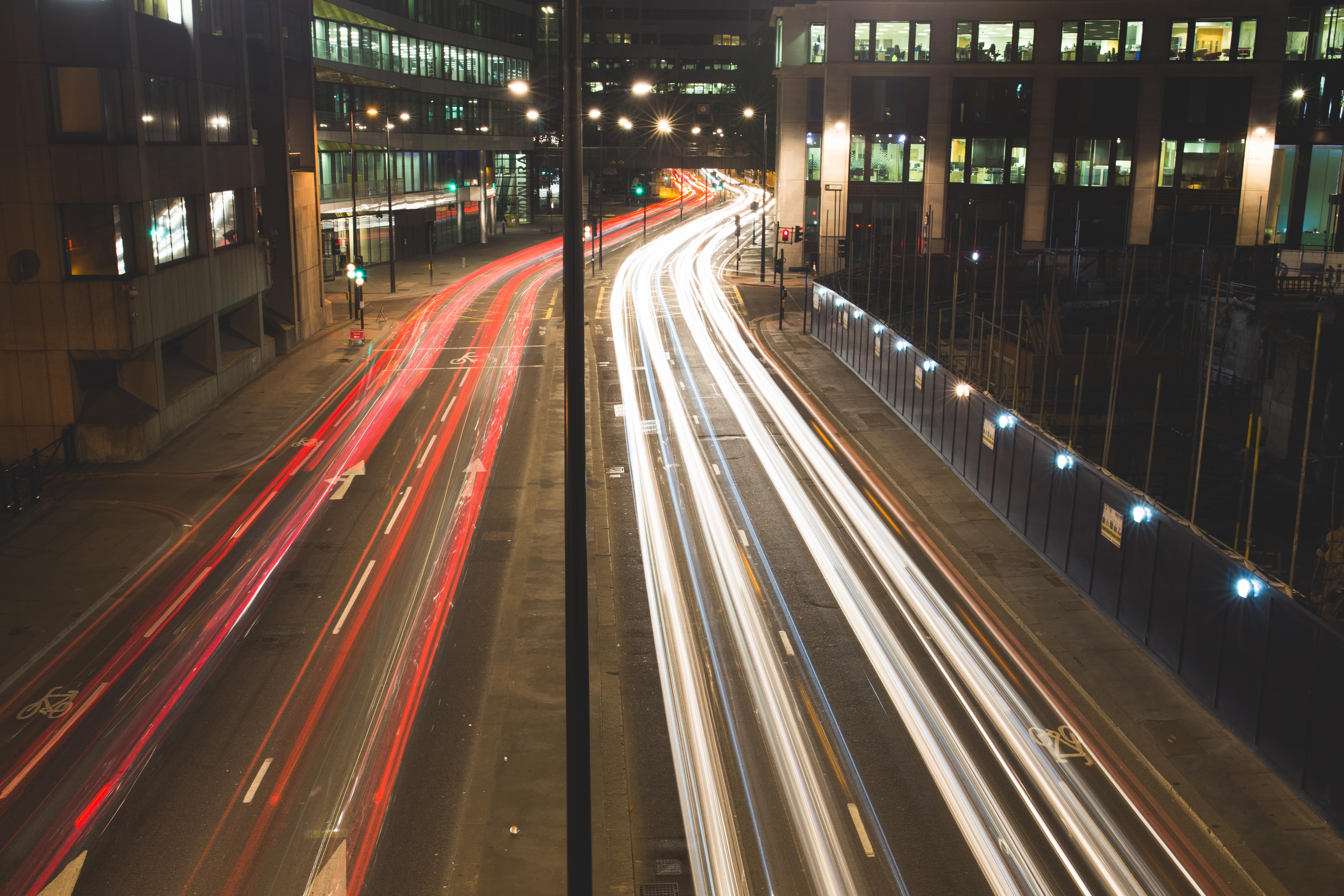 Fast Traffic, Blur, Buildings, City, Effect, HQ Photo