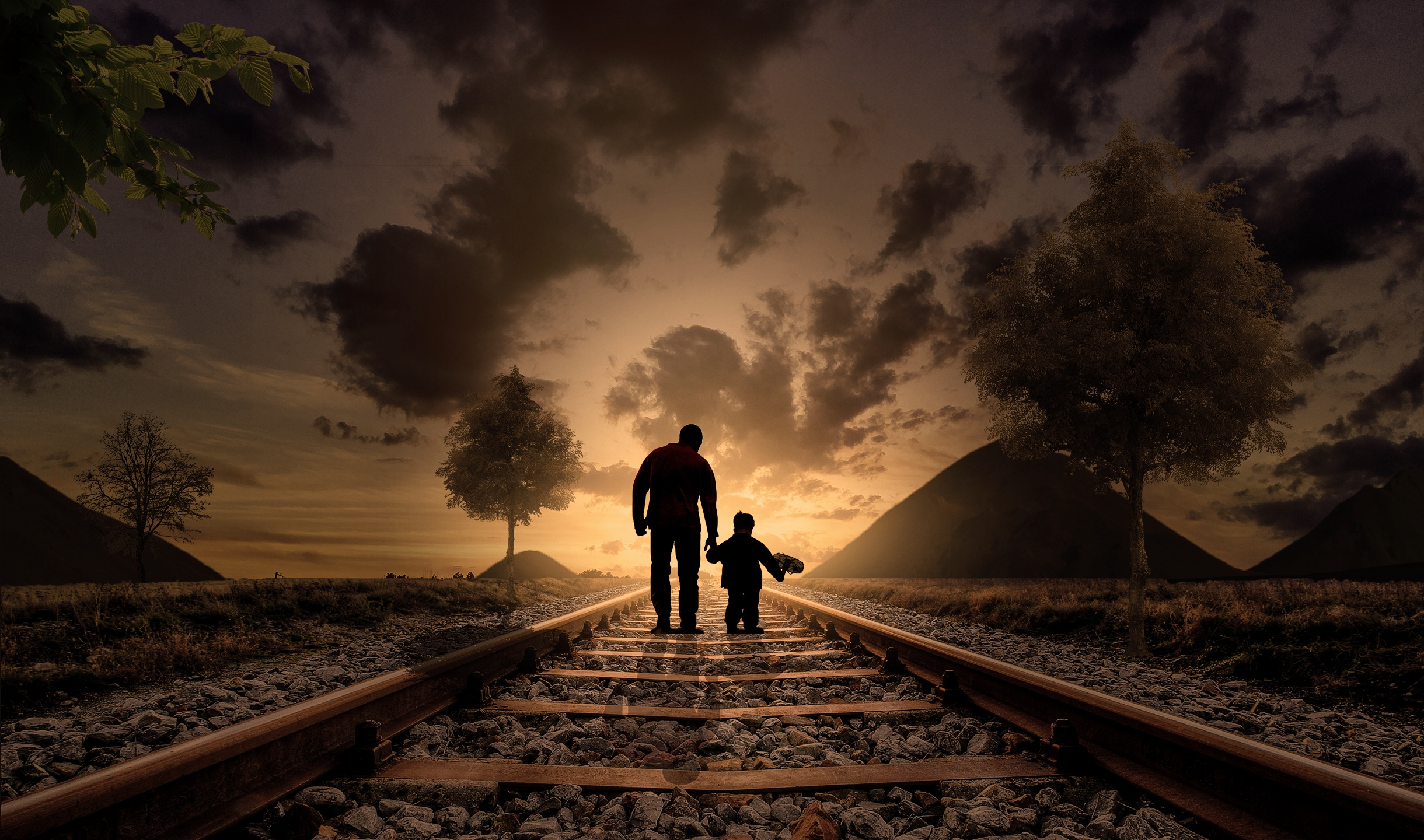 Father and Son, Father, Graphical, Love, Railway, HQ Photo