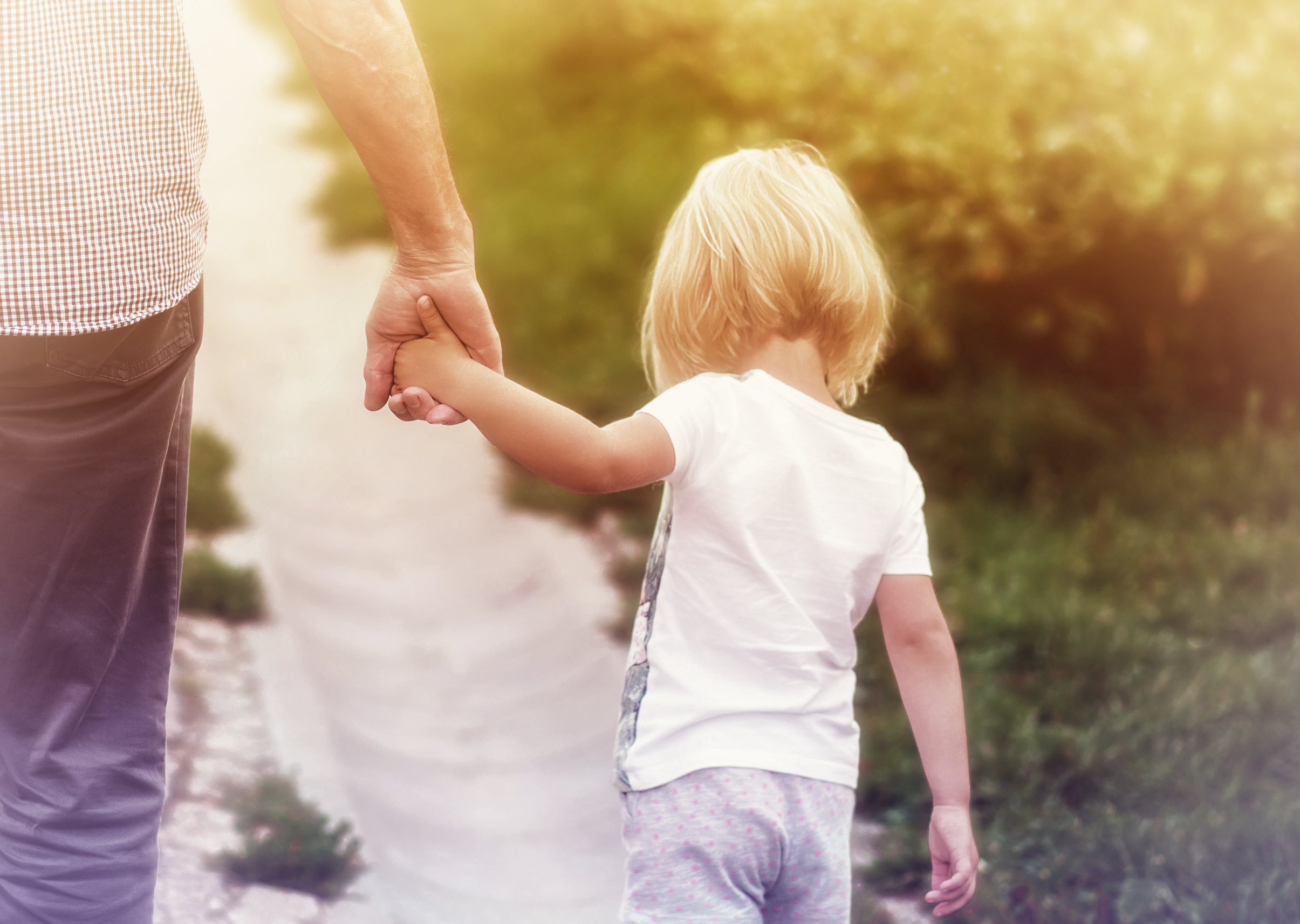 Father Holding Hands with Little Daughter, Adult, Outside, Recreation, Protective, HQ Photo