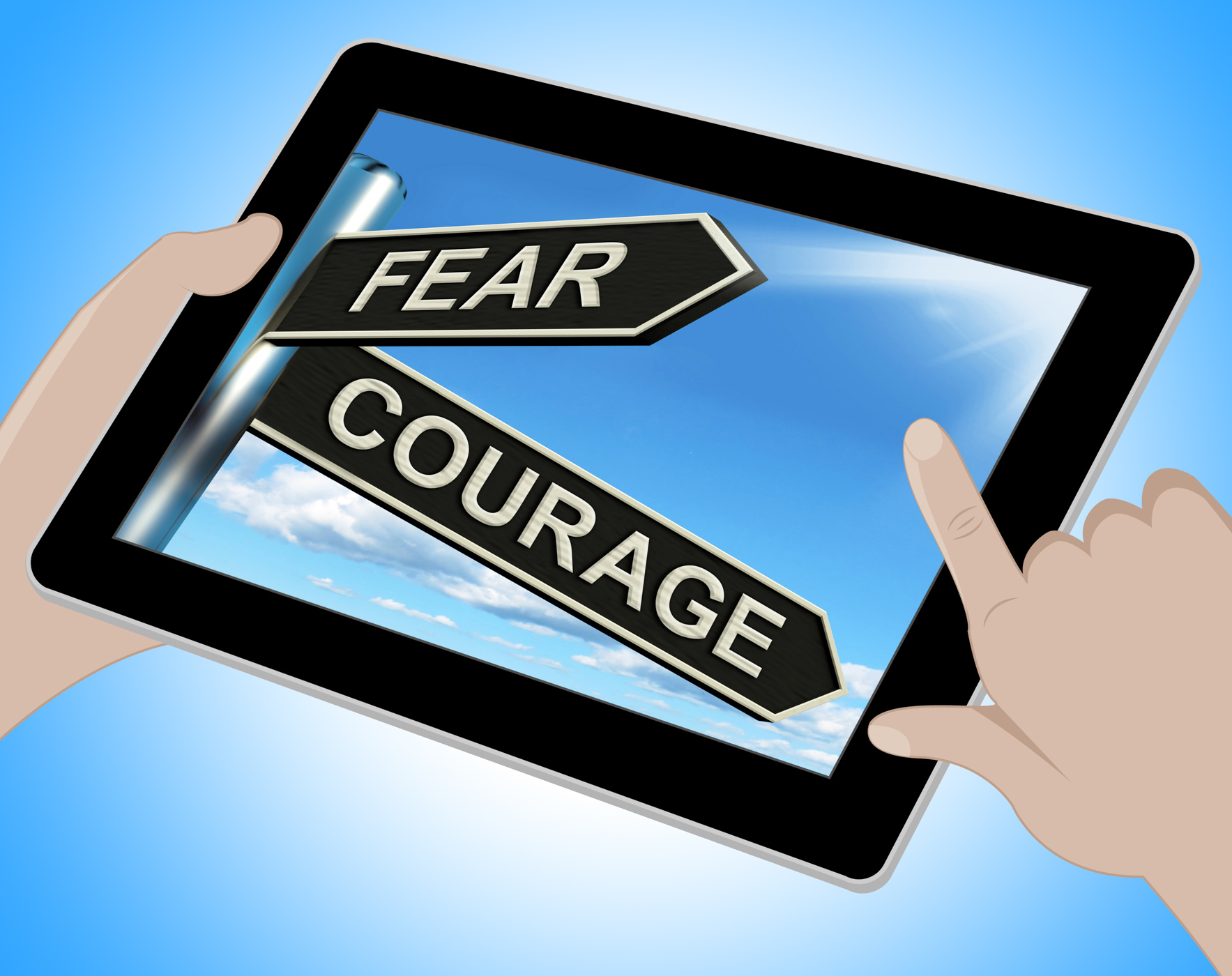 Fear courage tablet shows scared or courageous photo