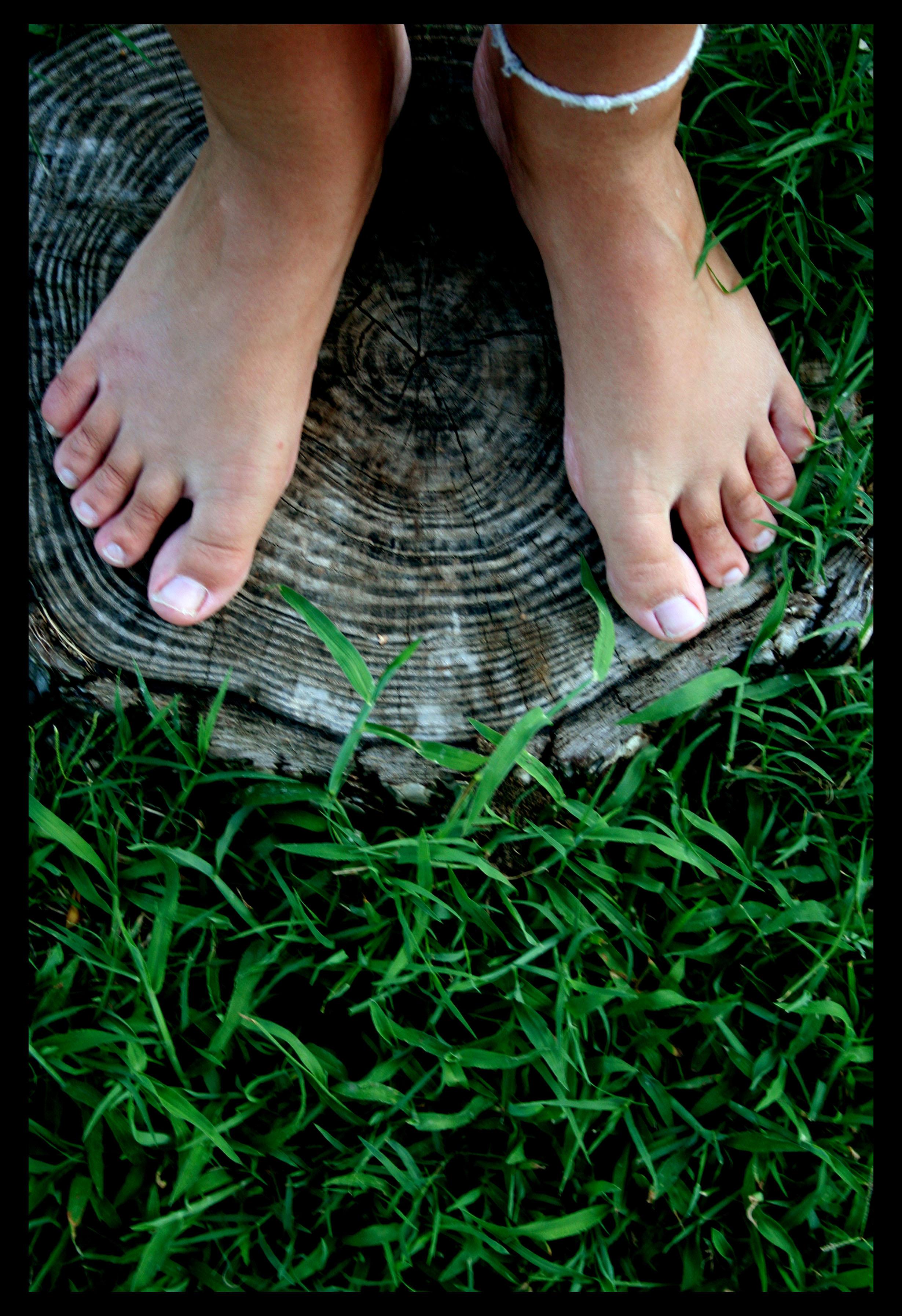 Feet, Conceptual, Down, Female, Grass, HQ Photo