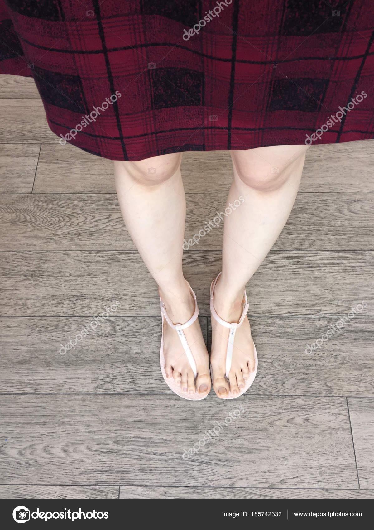 Woman Feet Wearing Pink Sandals Scot Dress Fashion Selfie Feet ...