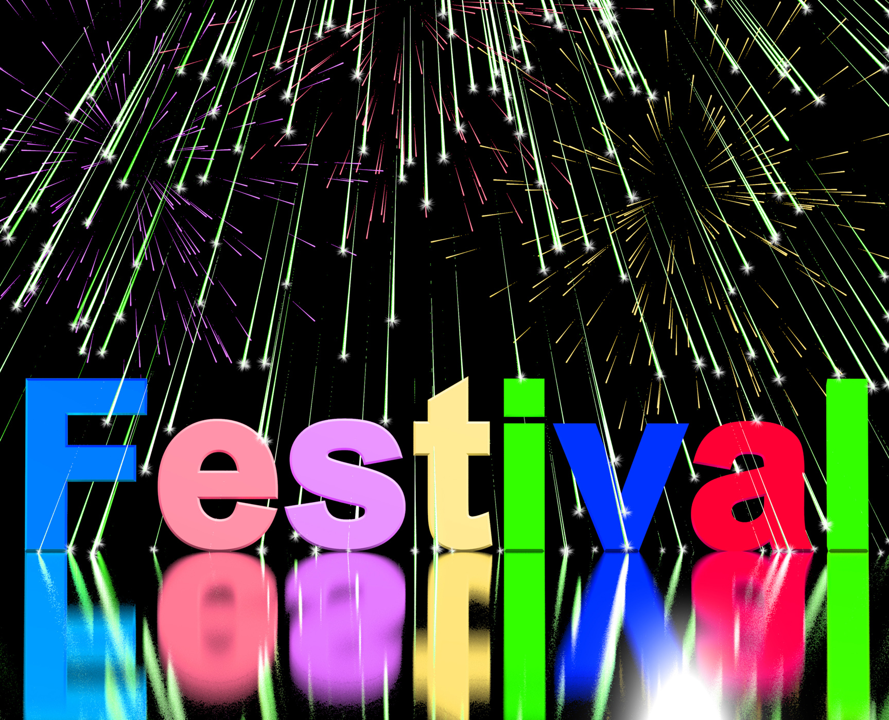 Festival word with fireworks showing entertainment event or party photo