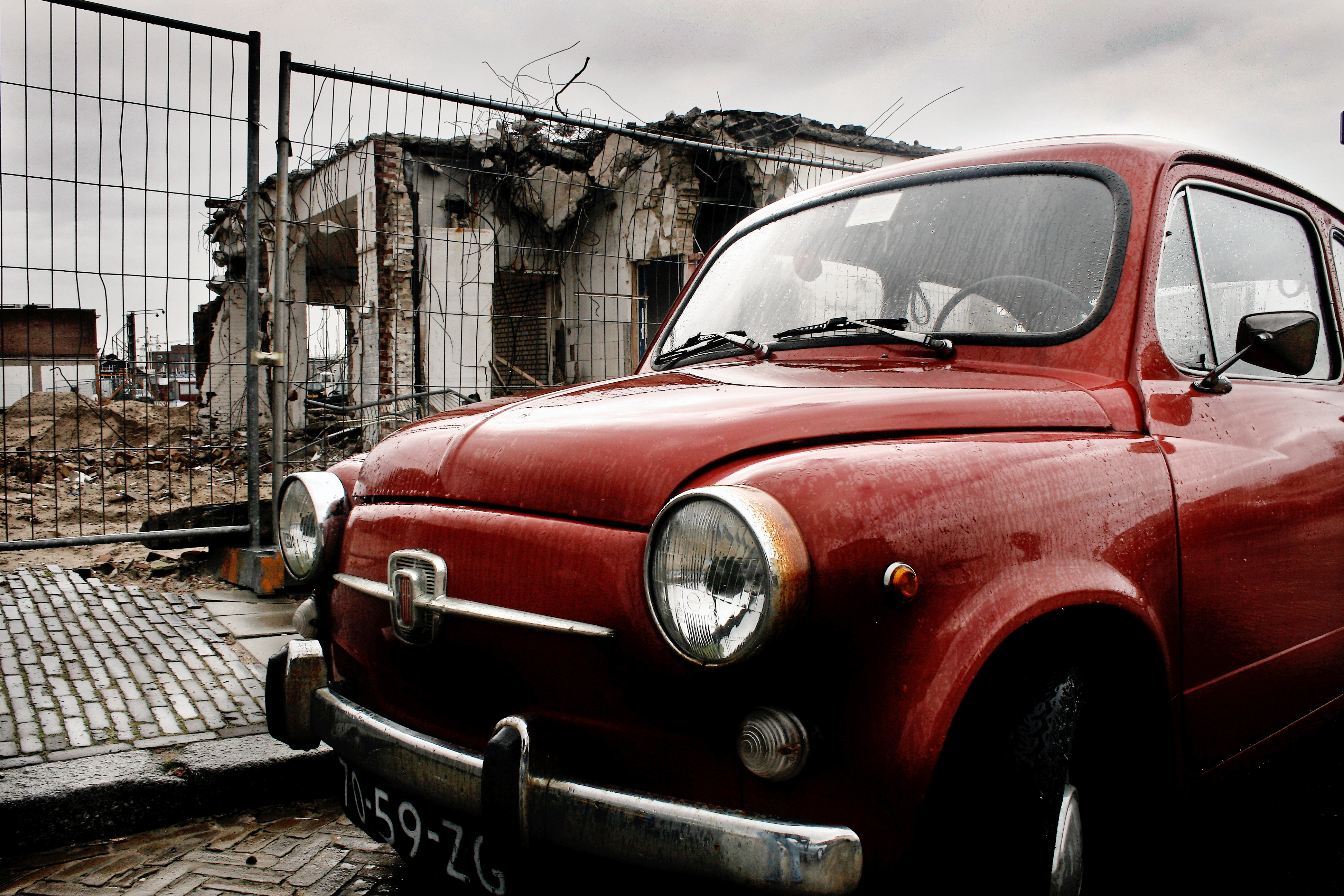 Fiat mini classic car, Abandoned, Vintage, Urban, Transportation, HQ Photo