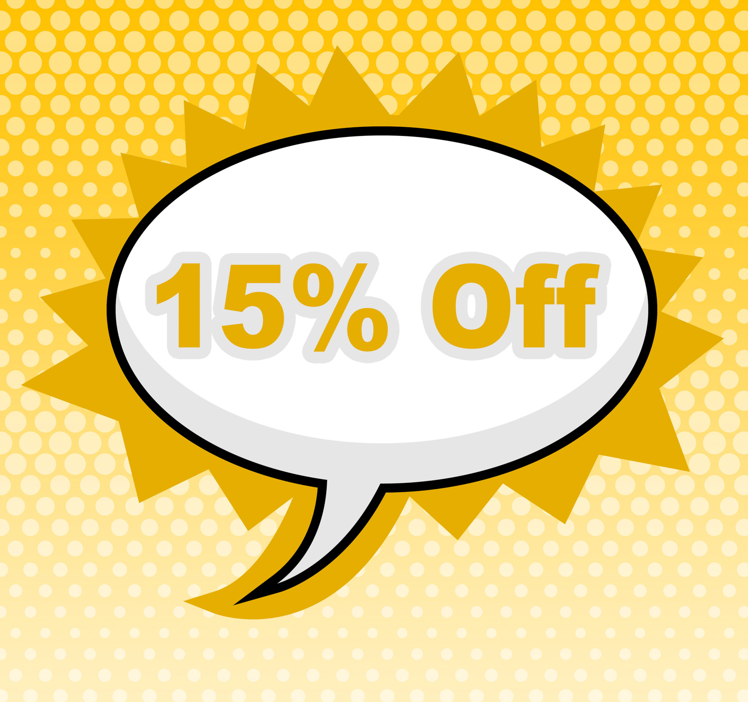 Fifteen percent off indicates sign promotion and placard photo