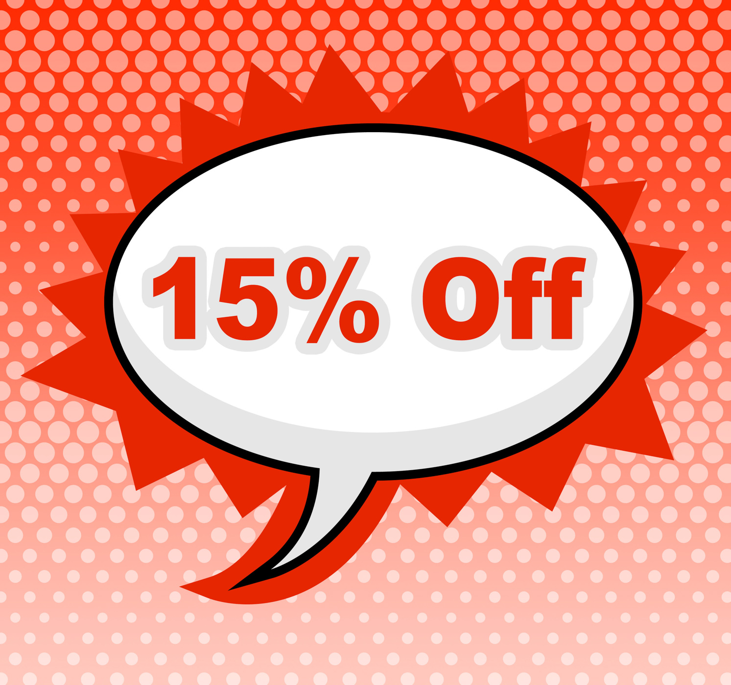Fifteen percent off represents promotion closeout and promotional photo