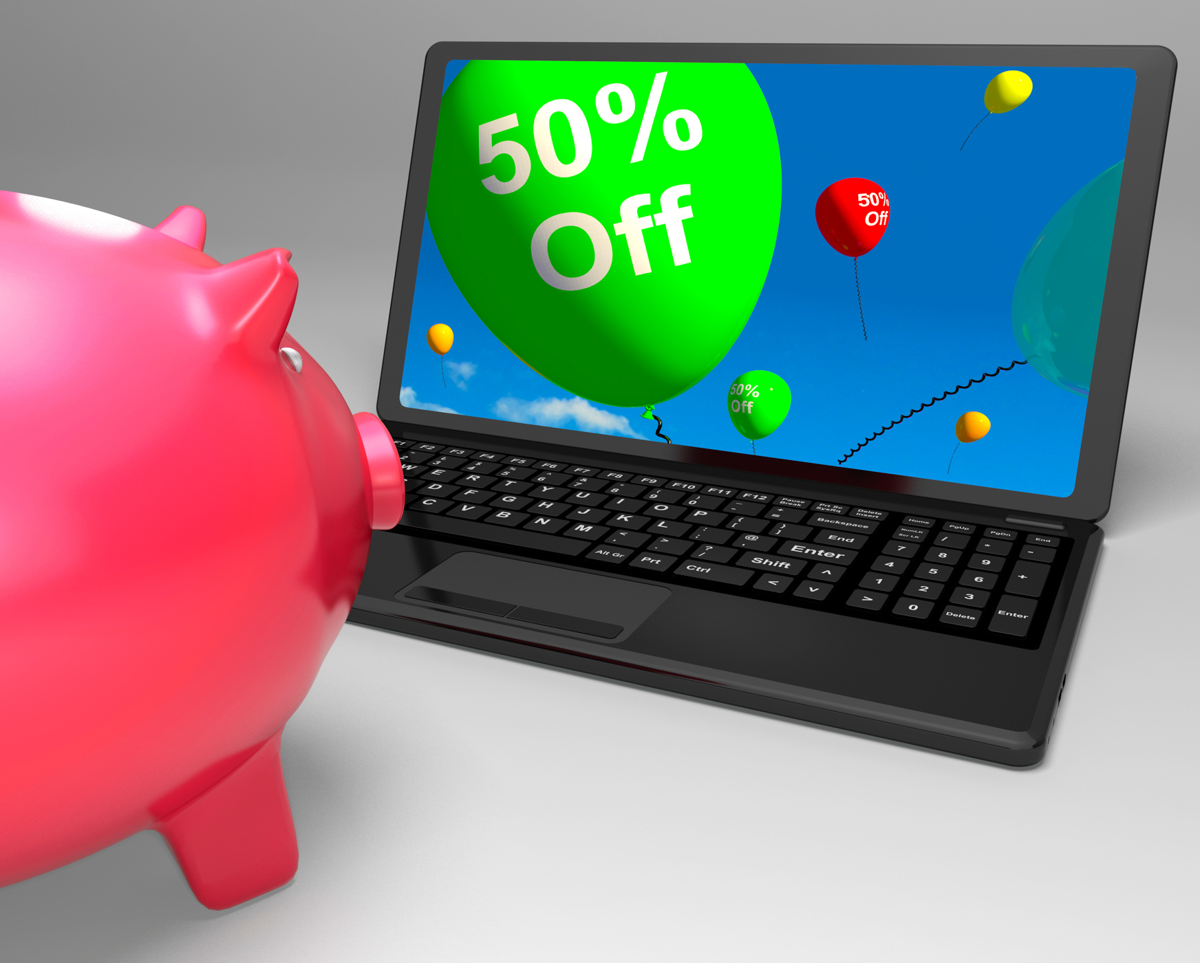 Fifty percent off on laptop showing cheap products photo