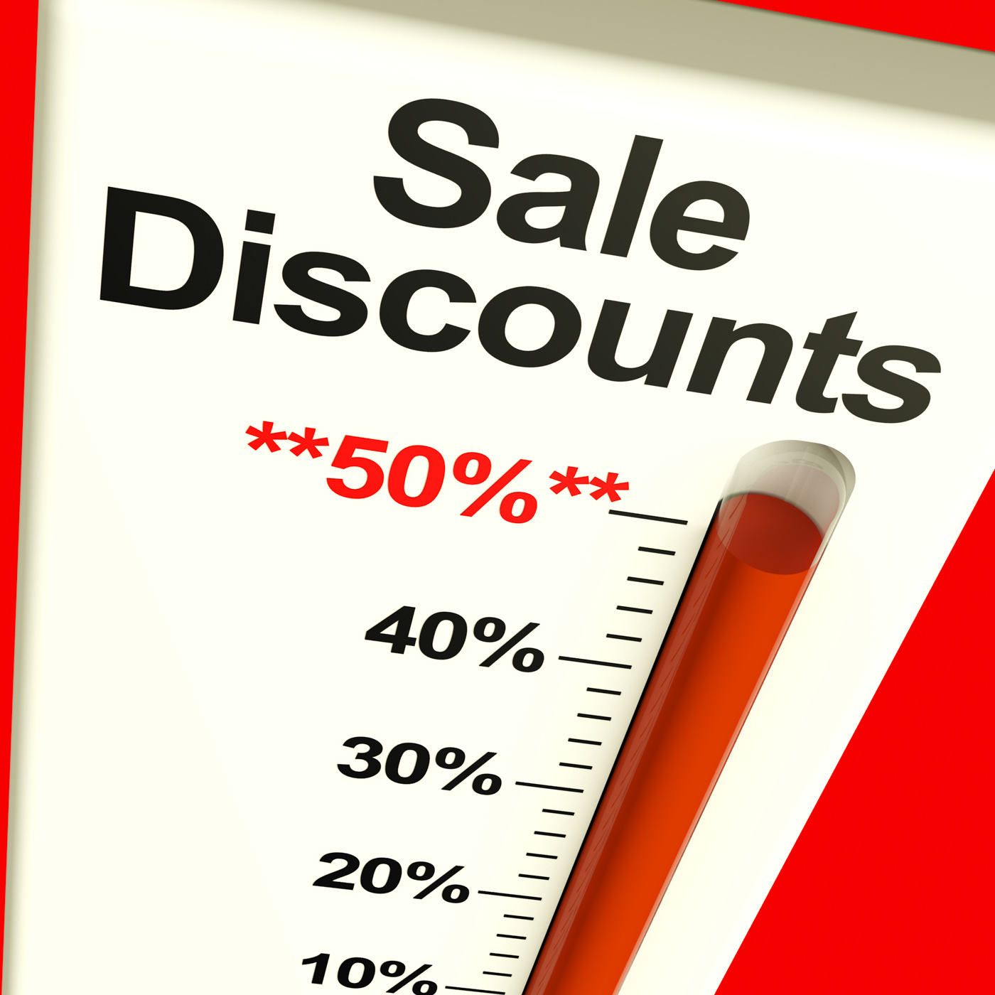 Fifty percent sale discounts showing bargain closeout selloff photo