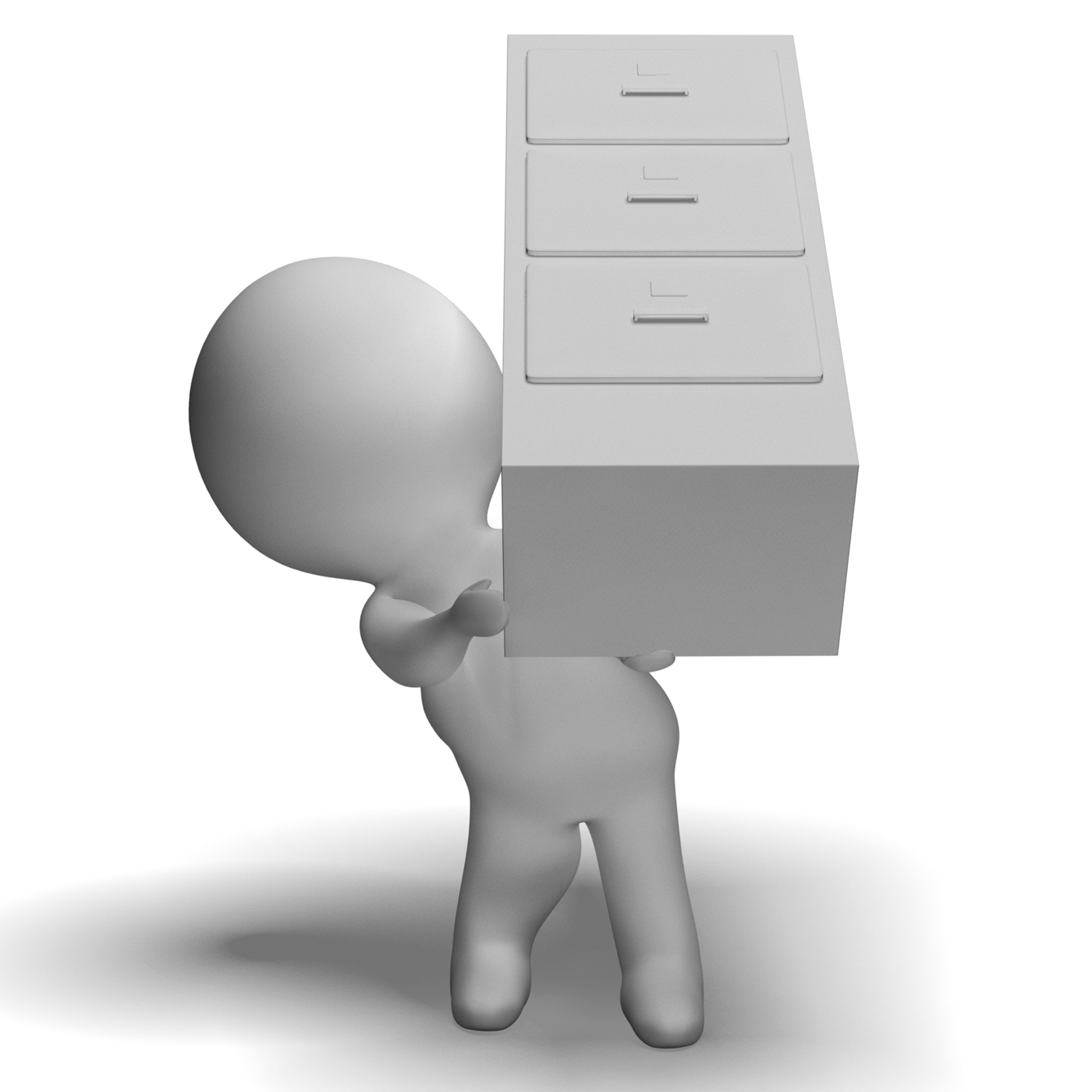 Filing cabinet carried by 3d character shows organization photo