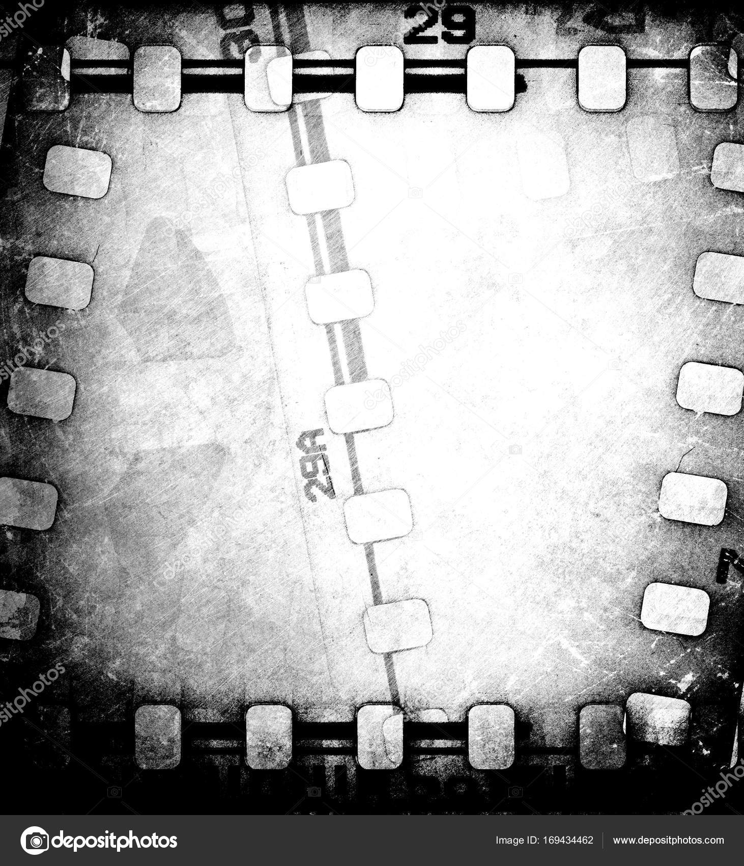 Grunge scratched dirty film strip background with reel. — Stock ...