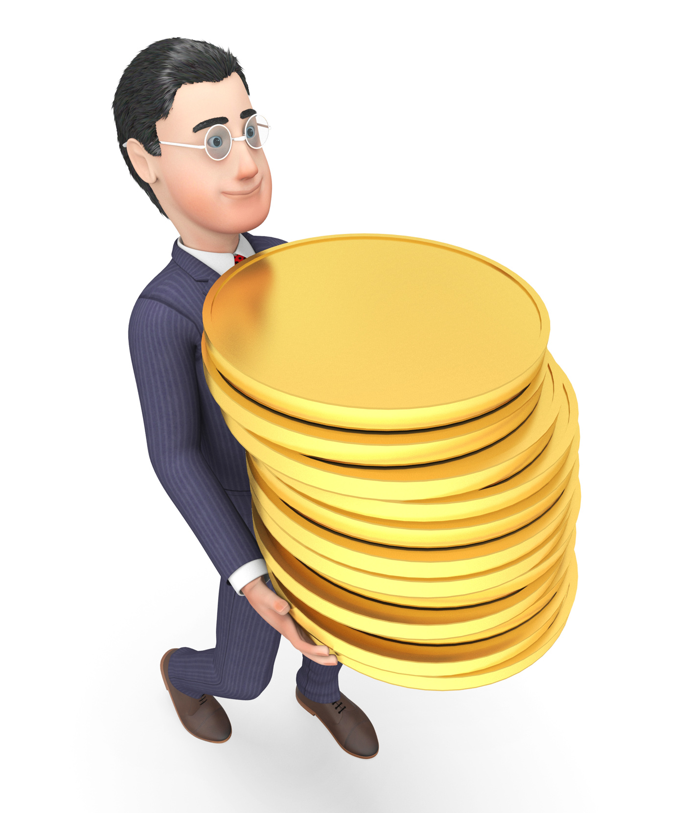 Finance businessman represents coins money and success 3d rendering photo