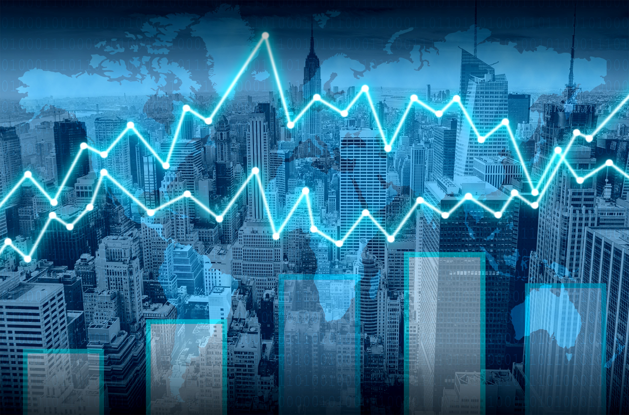 Finance graph superimposed on Manhattan, Manager, Night, New, Monitoring, HQ Photo