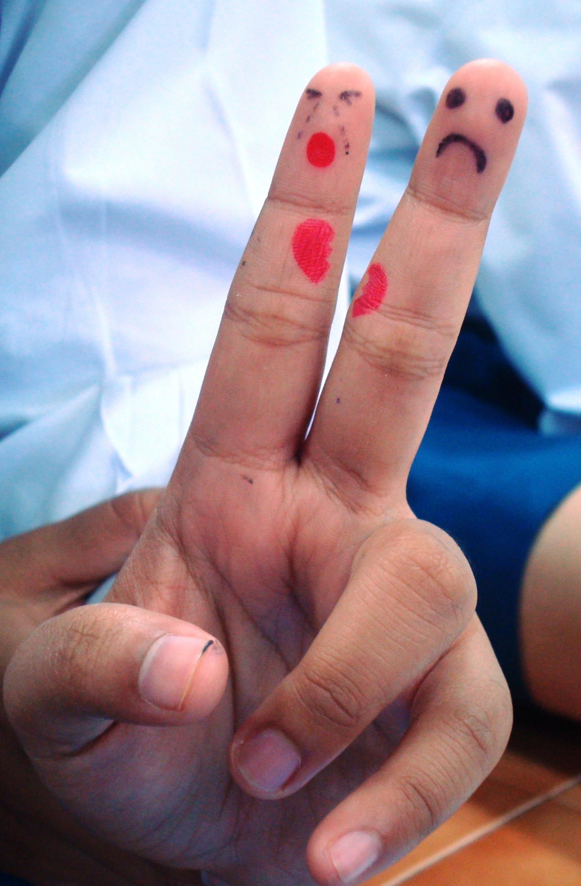 Finger art broken heart photo